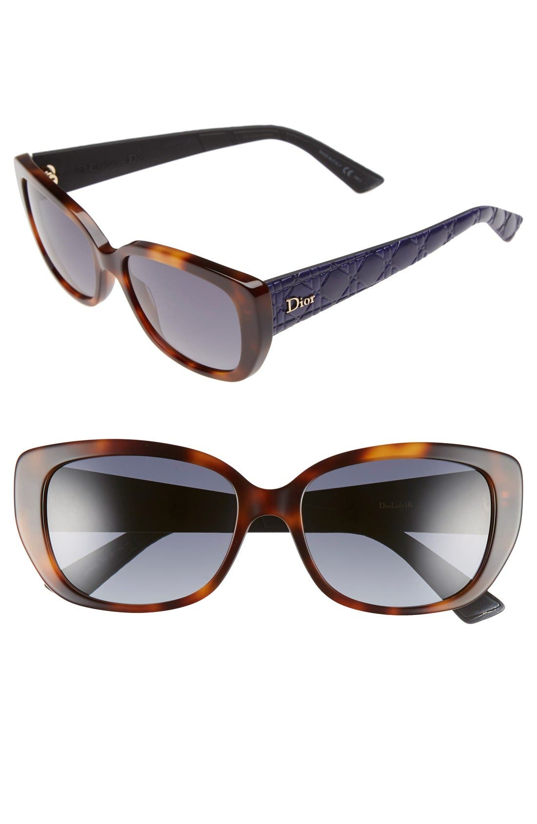 Lady 55mm Cat Eye Sunglasses,                         Main,                         color, Havana/ Blue