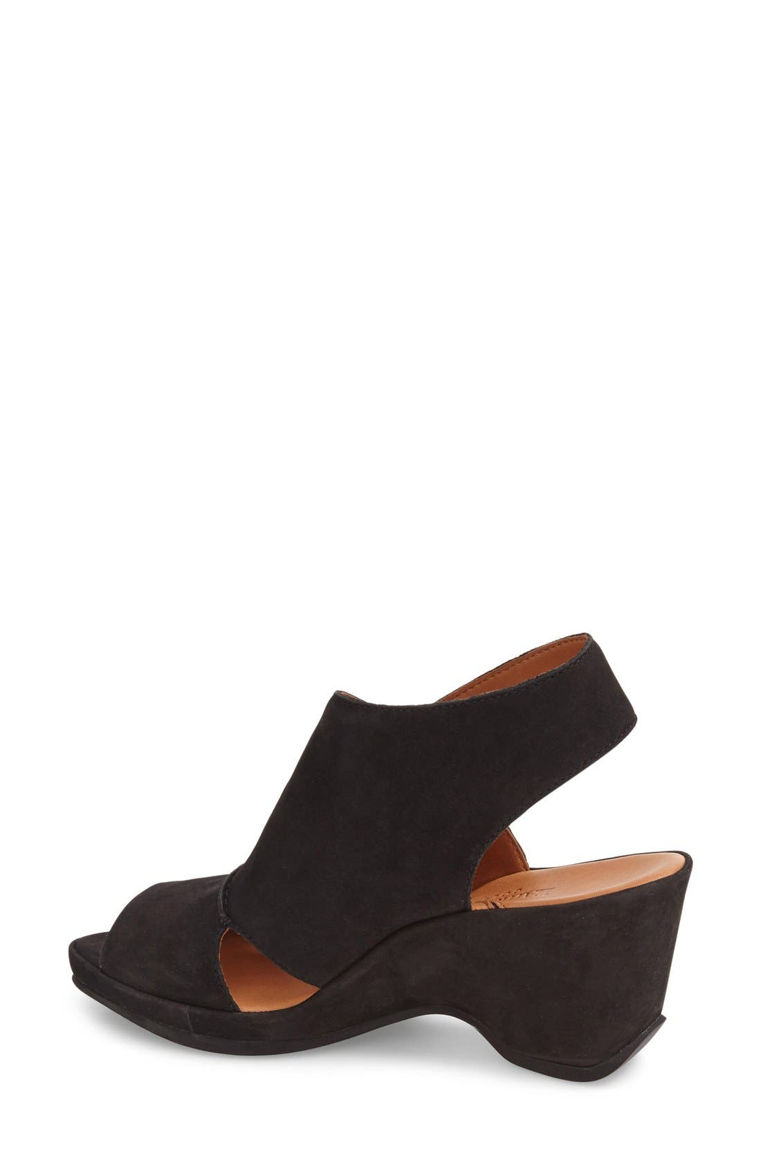 'Oswin' Peep Toe Demi Wedge Sandal,                             Alternate thumbnail 2, color,                             Black Nubuck Leather