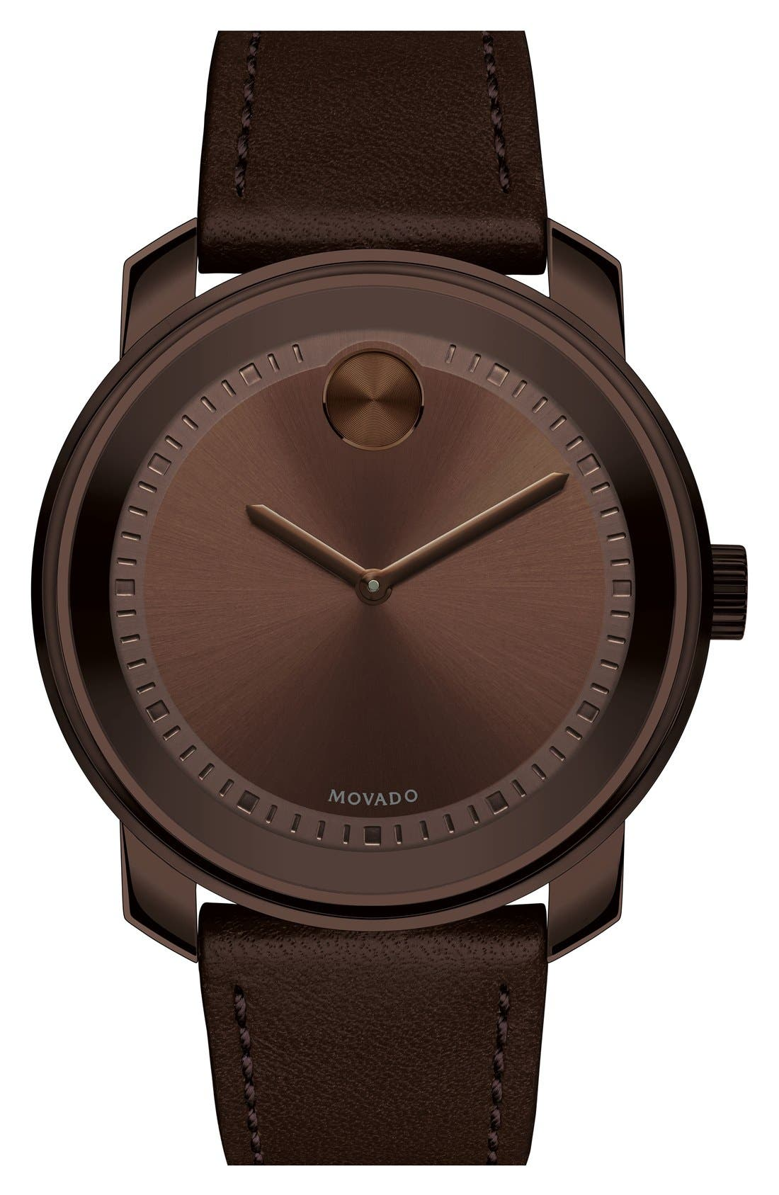 'Bold' Leather Strap Watch, 43mm,                         Main,                         color, Dark Brown