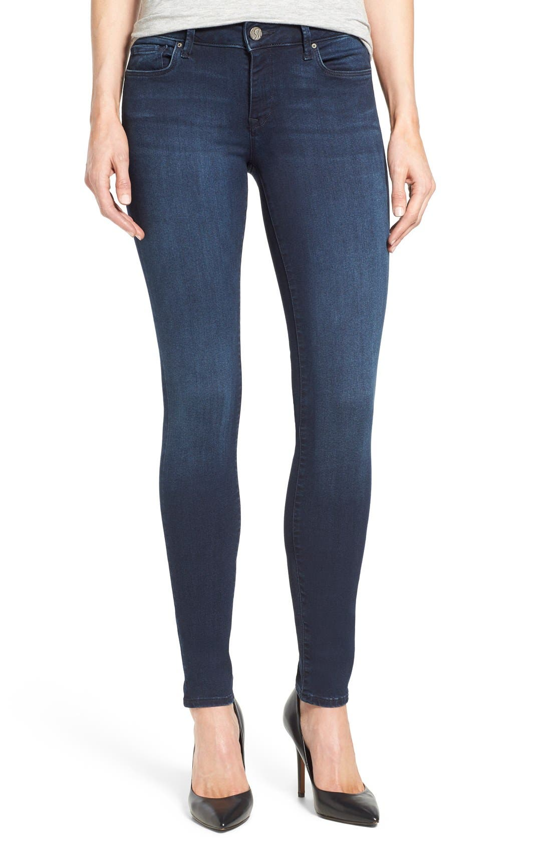 'Adriana' Stretch Skinny Jeans,                             Main thumbnail 1, color,                             Dark Blue