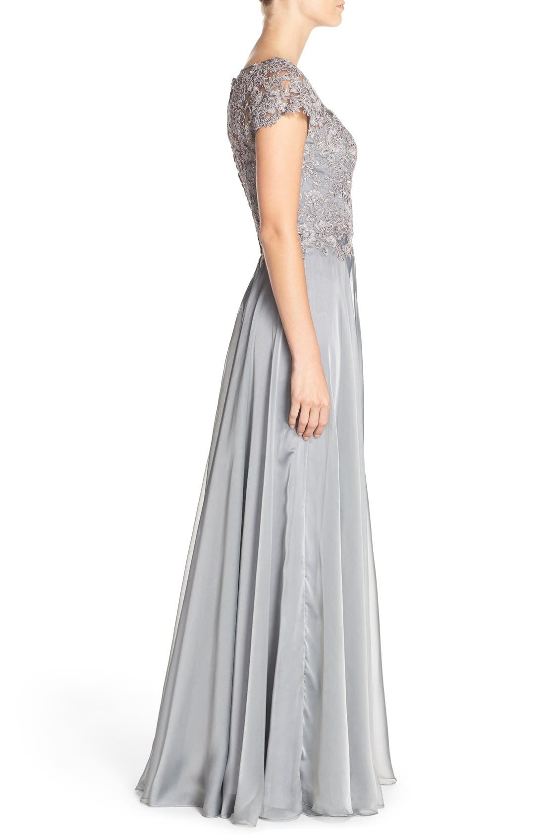 Embellished Lace & Satin Ballgown,                             Alternate thumbnail 3, color,                             Platinum