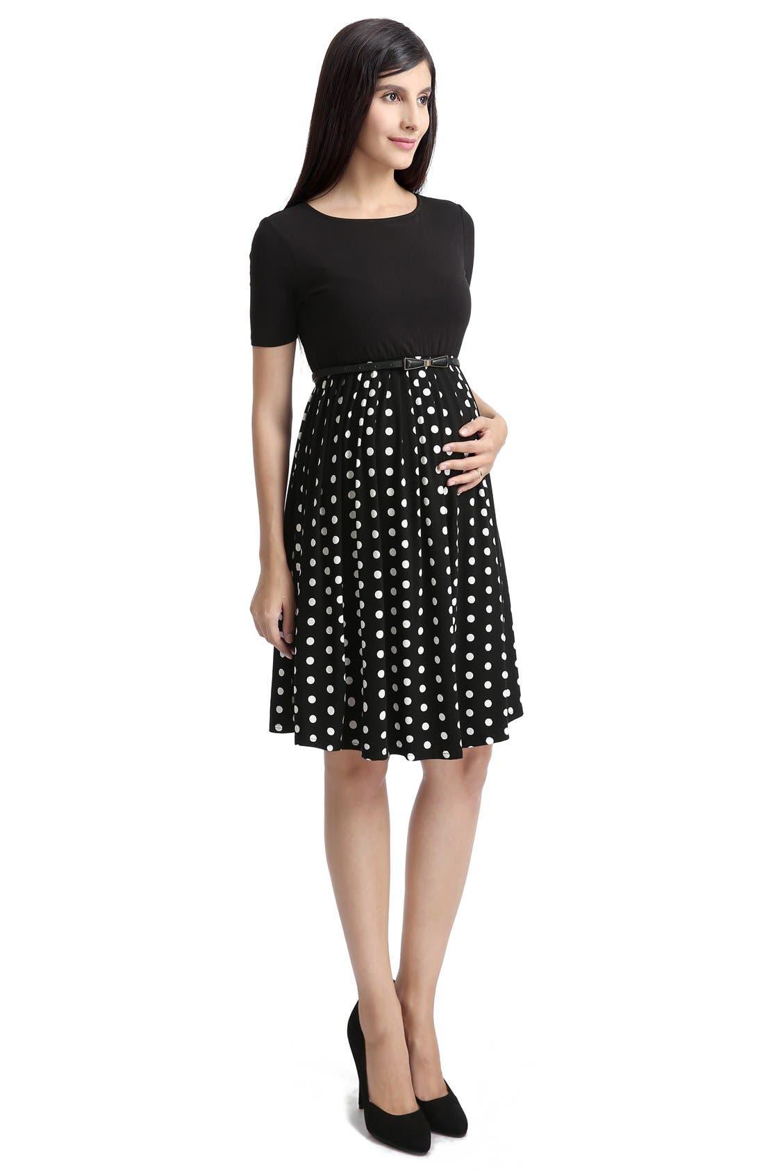'Emmy' Polka Dot Maternity Dress,                             Alternate thumbnail 3, color,                             Black