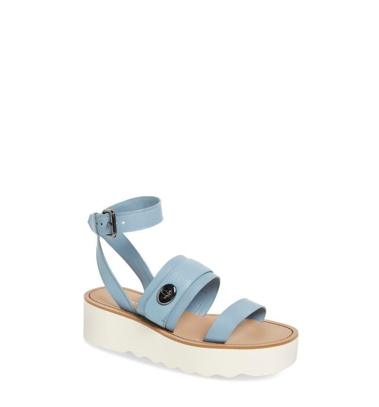platform sandal, blue platform sandal