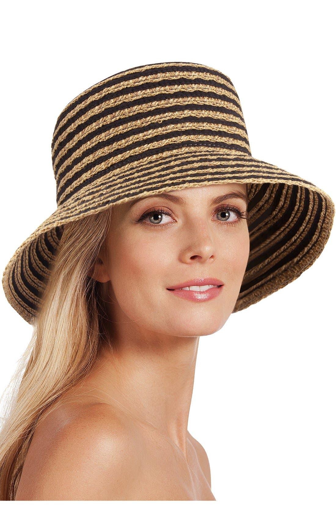 'Braid Dame' Hat,                             Alternate thumbnail 2, color,                             Black Mix