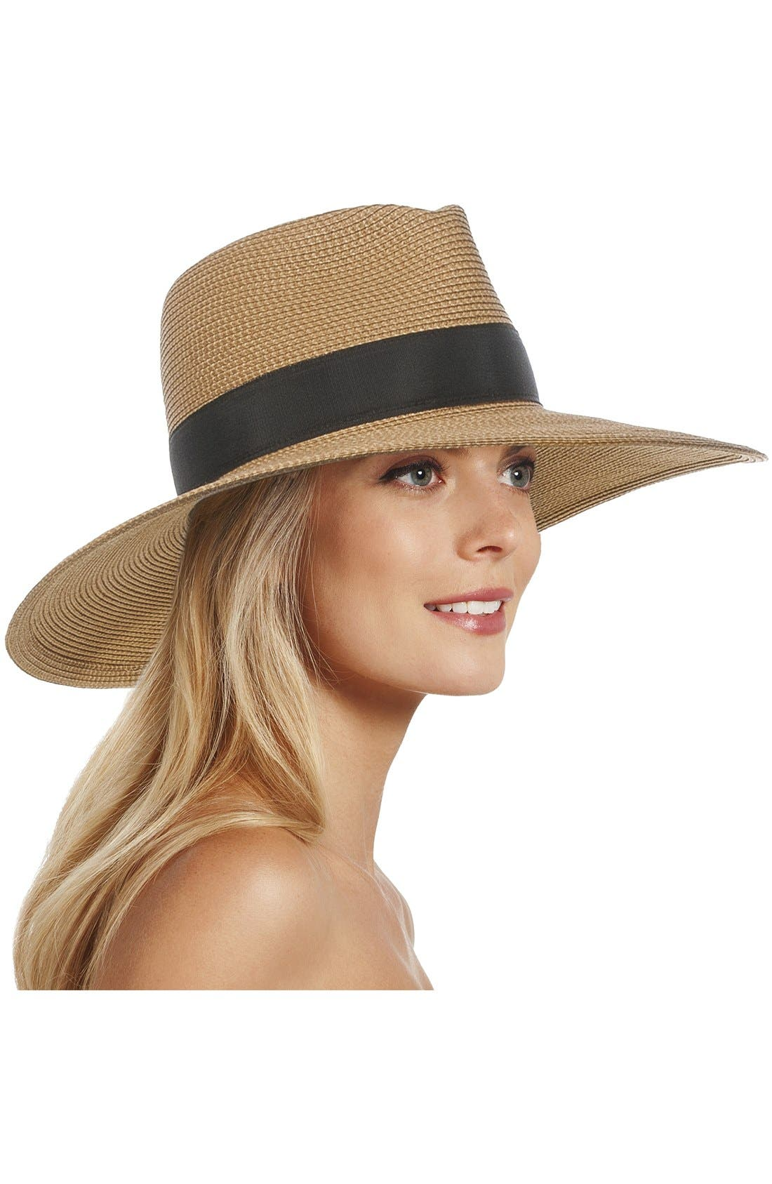 'Daphne' Broad Brim Fedora,                             Main thumbnail 1, color,                             Natural/ Black