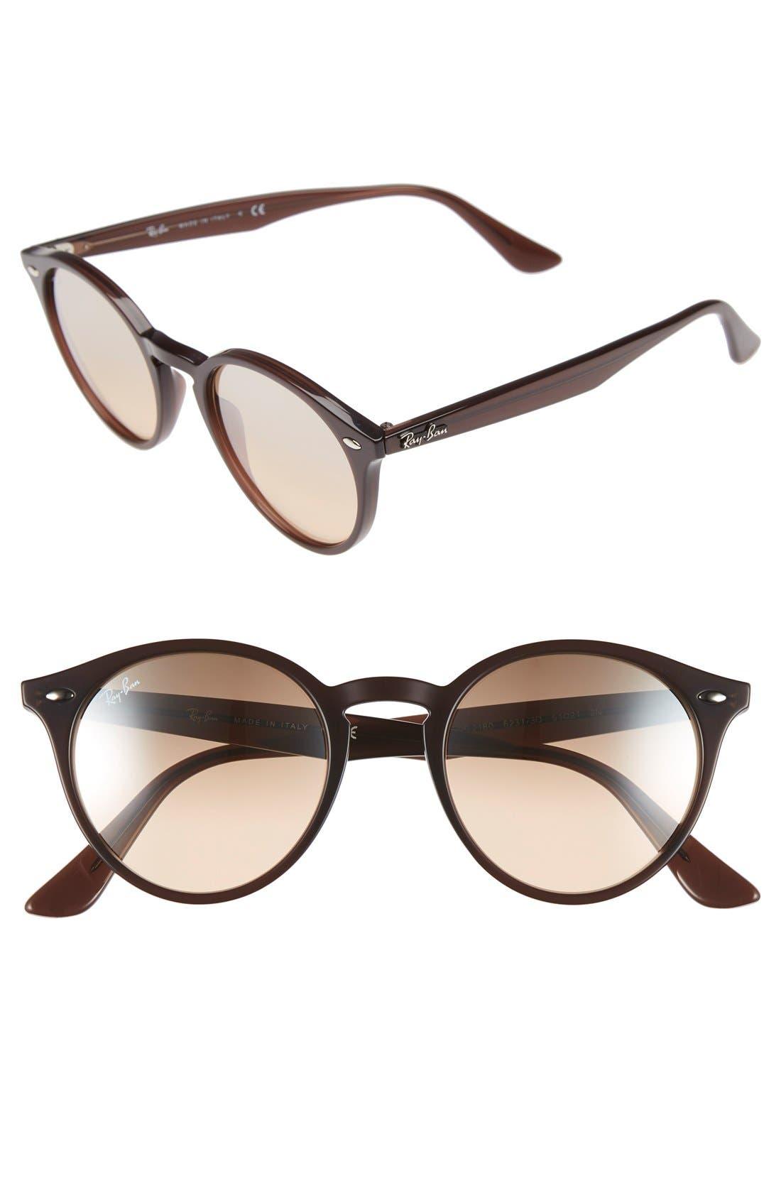 Highstreet 51mm Round Sunglasses,                         Main,                         color, Dark Brown