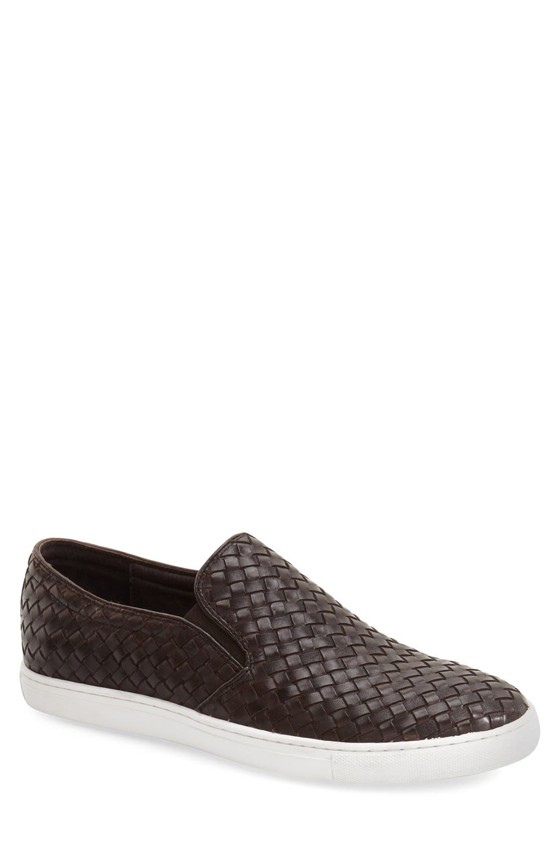 'Buzz' Slip-On Sneaker,                             Main thumbnail 1, color,                             Brown Leather