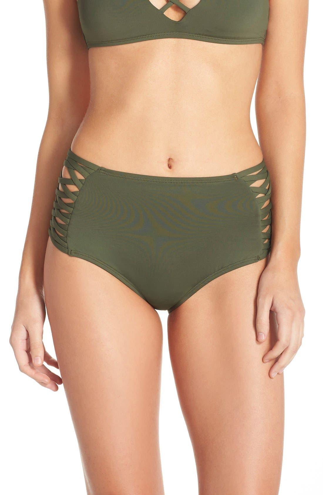 Tigress Classic High Waist Bikini Bottoms,                             Main thumbnail 1, color,                             Fern