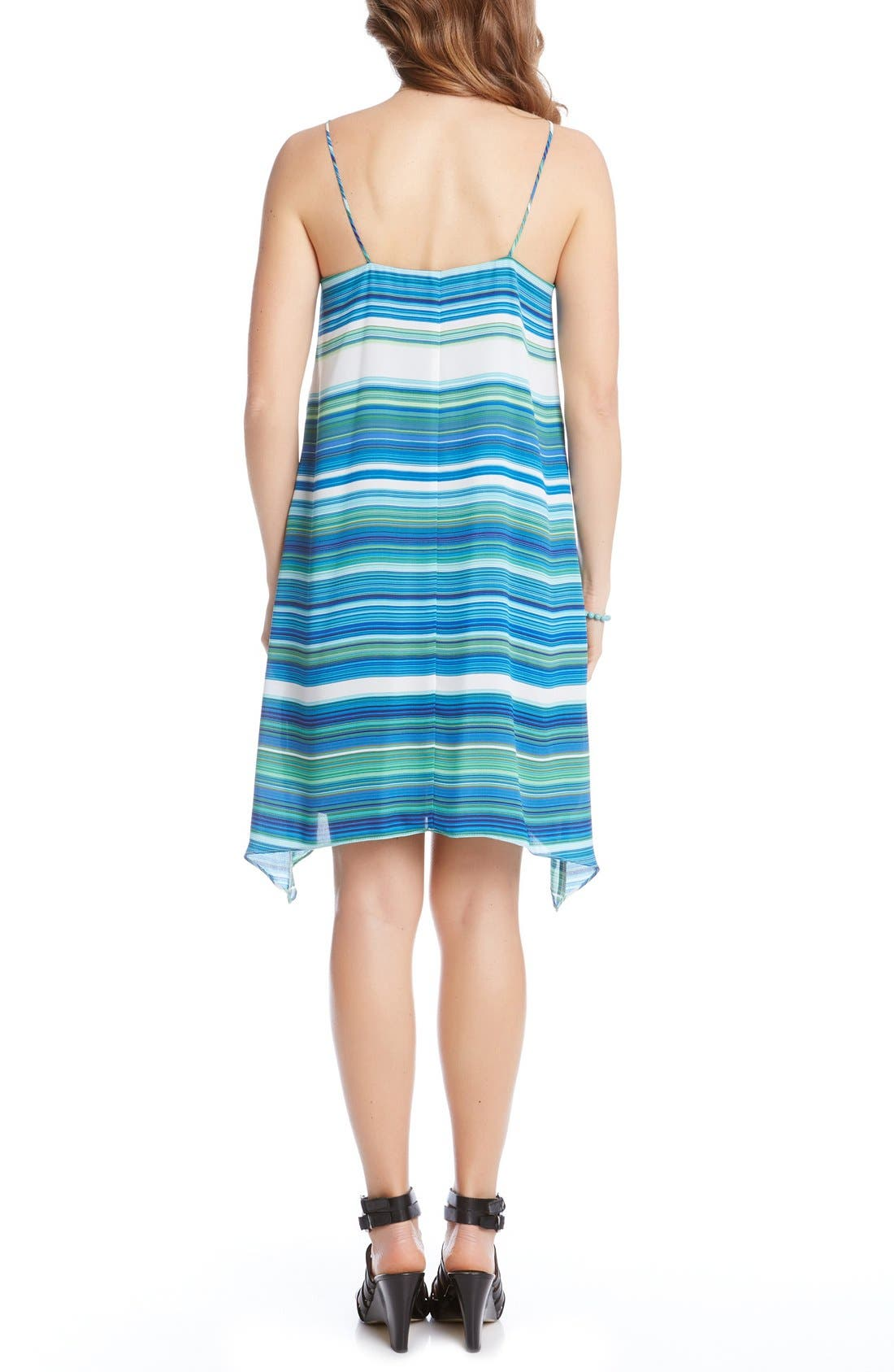 Alternate Image 3  - Karen Kane Spaghetti Strap Stripe Trapeze Dress