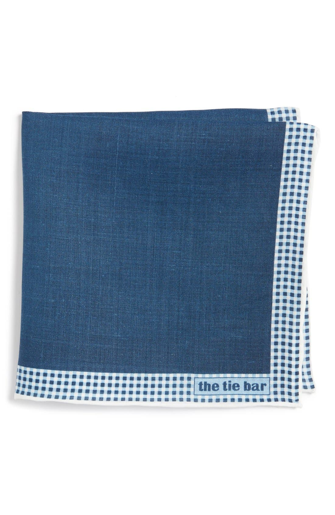 Gingham Plaid Border Linen Pocket Square,                         Main,                         color, Navy