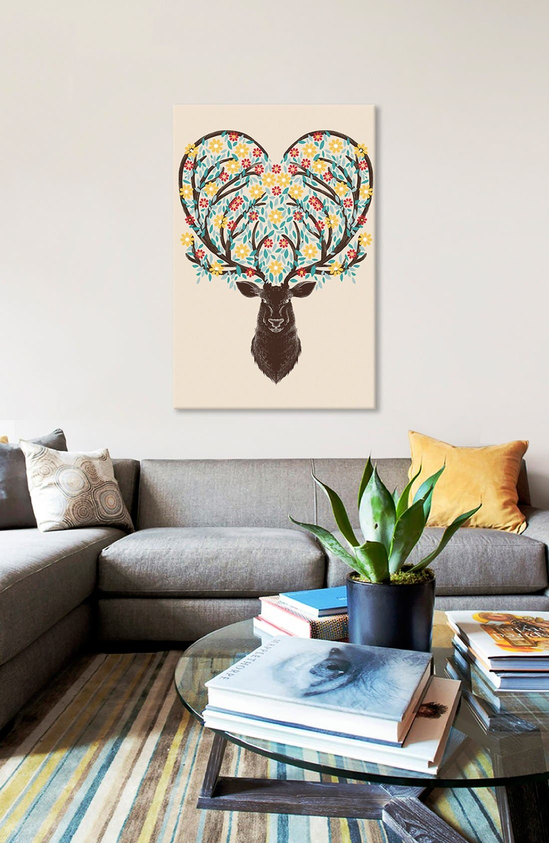 'Blooming Deer' Giclée Print Canvas Art,                             Alternate thumbnail 2, color,                             Beige
