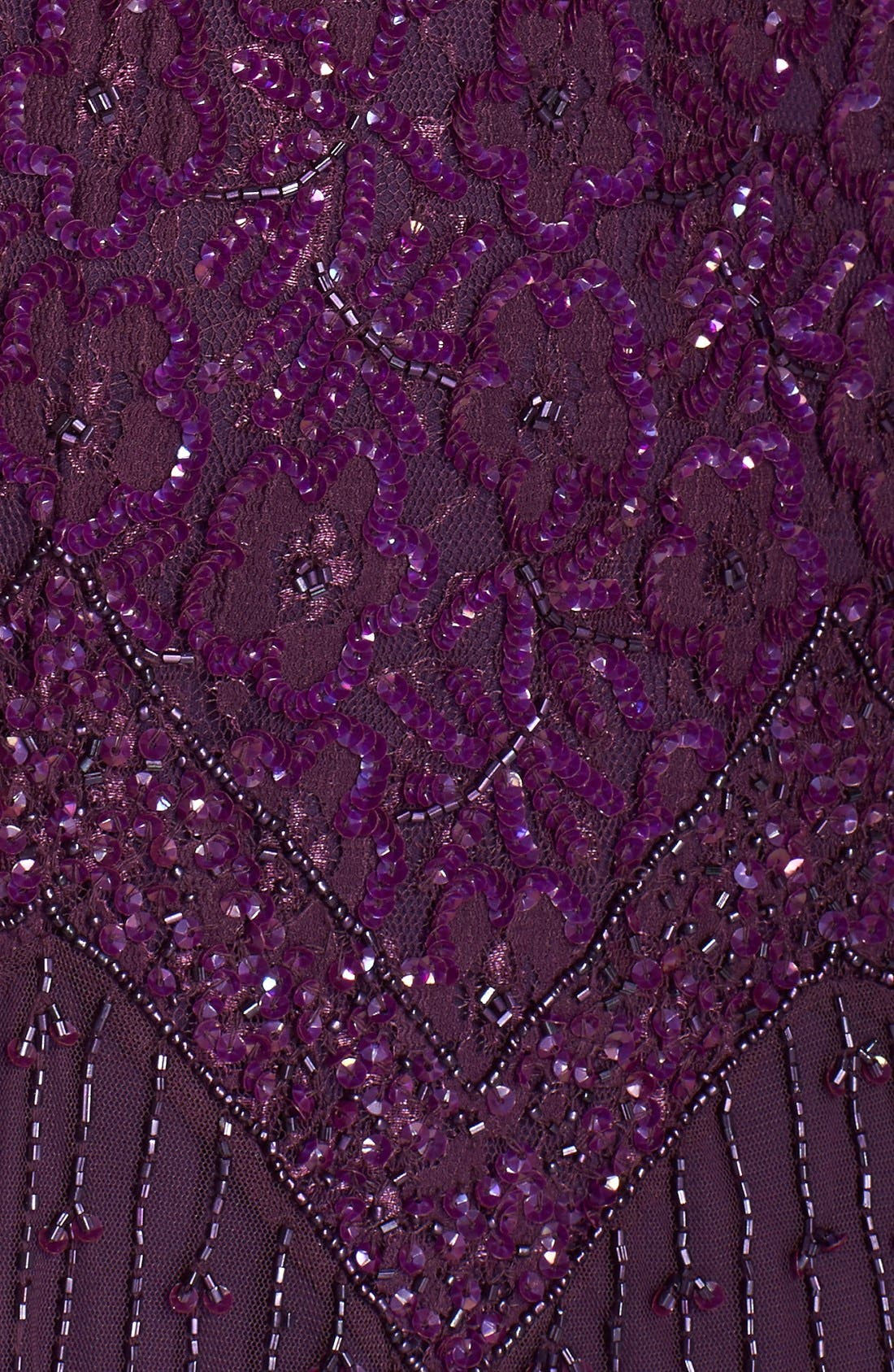 Beaded V-Neck Lace Illusion Gown,                             Alternate thumbnail 5, color,                             Plum