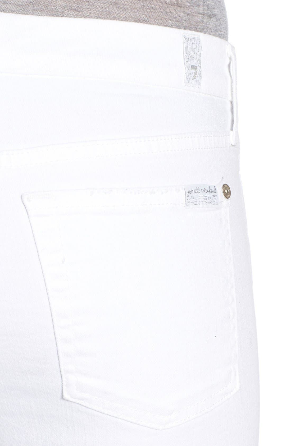 Alternate Image 4  - 7 For All Mankind® Destroyed Ankle Skinny Jeans (Clean White)