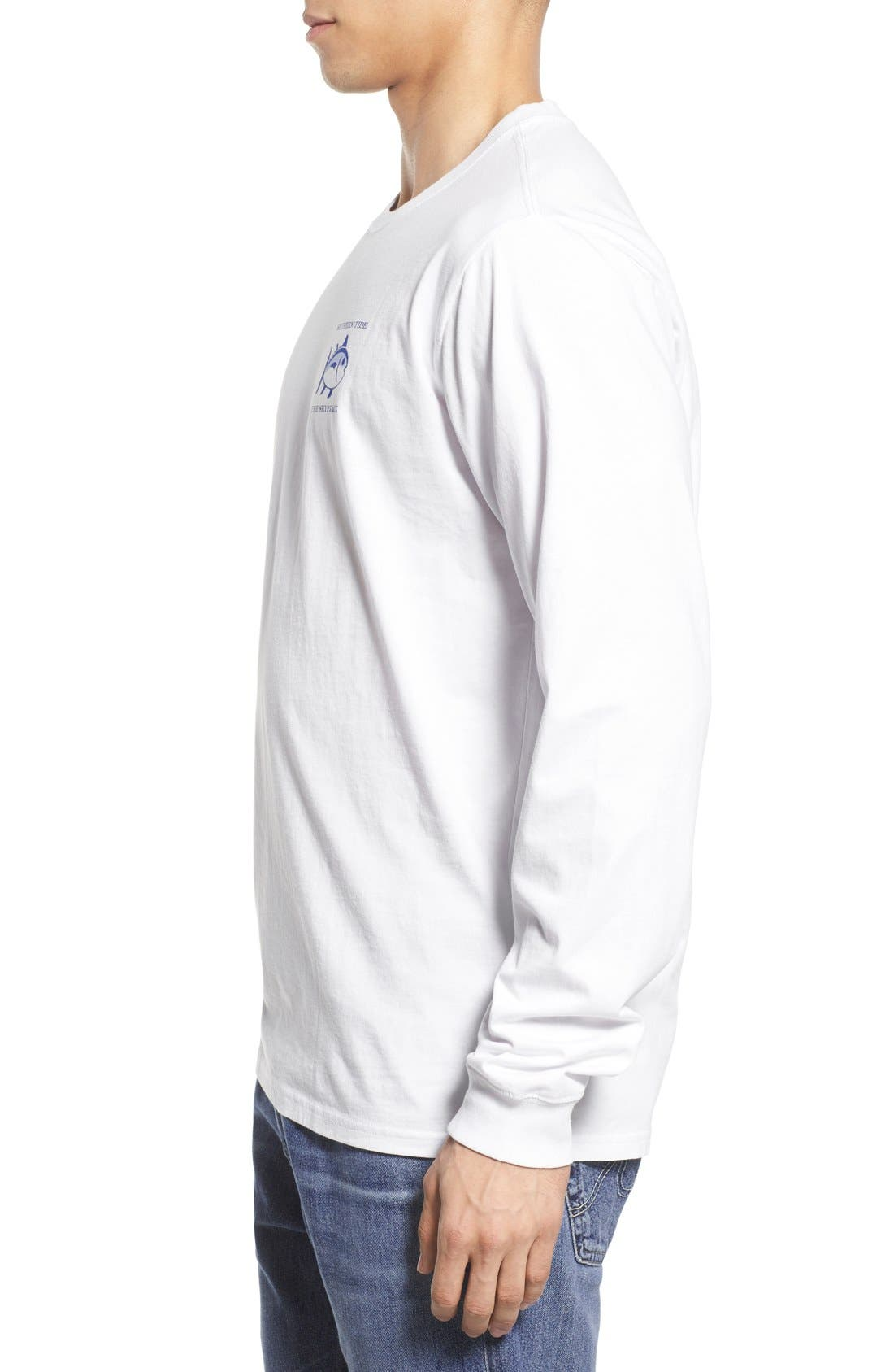 'Skipjack' Long Sleeve Graphic T-Shirt,                             Alternate thumbnail 3, color,                             Classic White