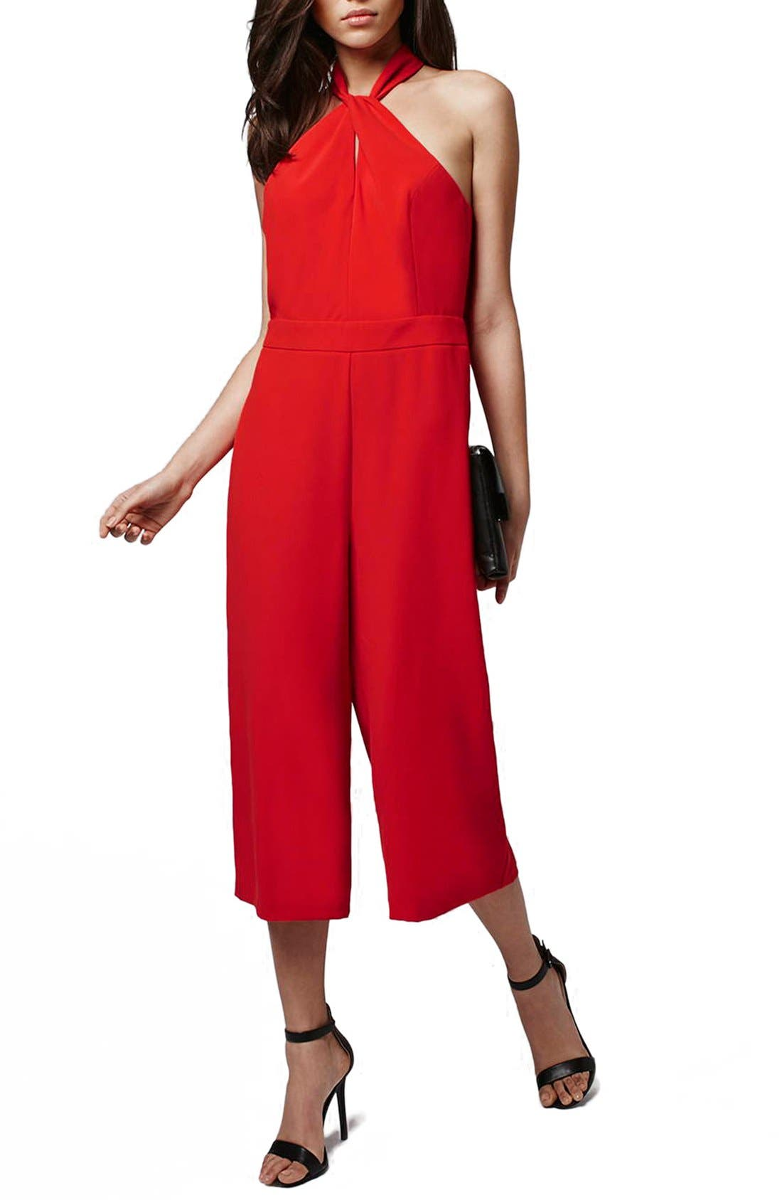 Halter Style Culotte Jumpsuit,                             Main thumbnail 1, color,                             Red