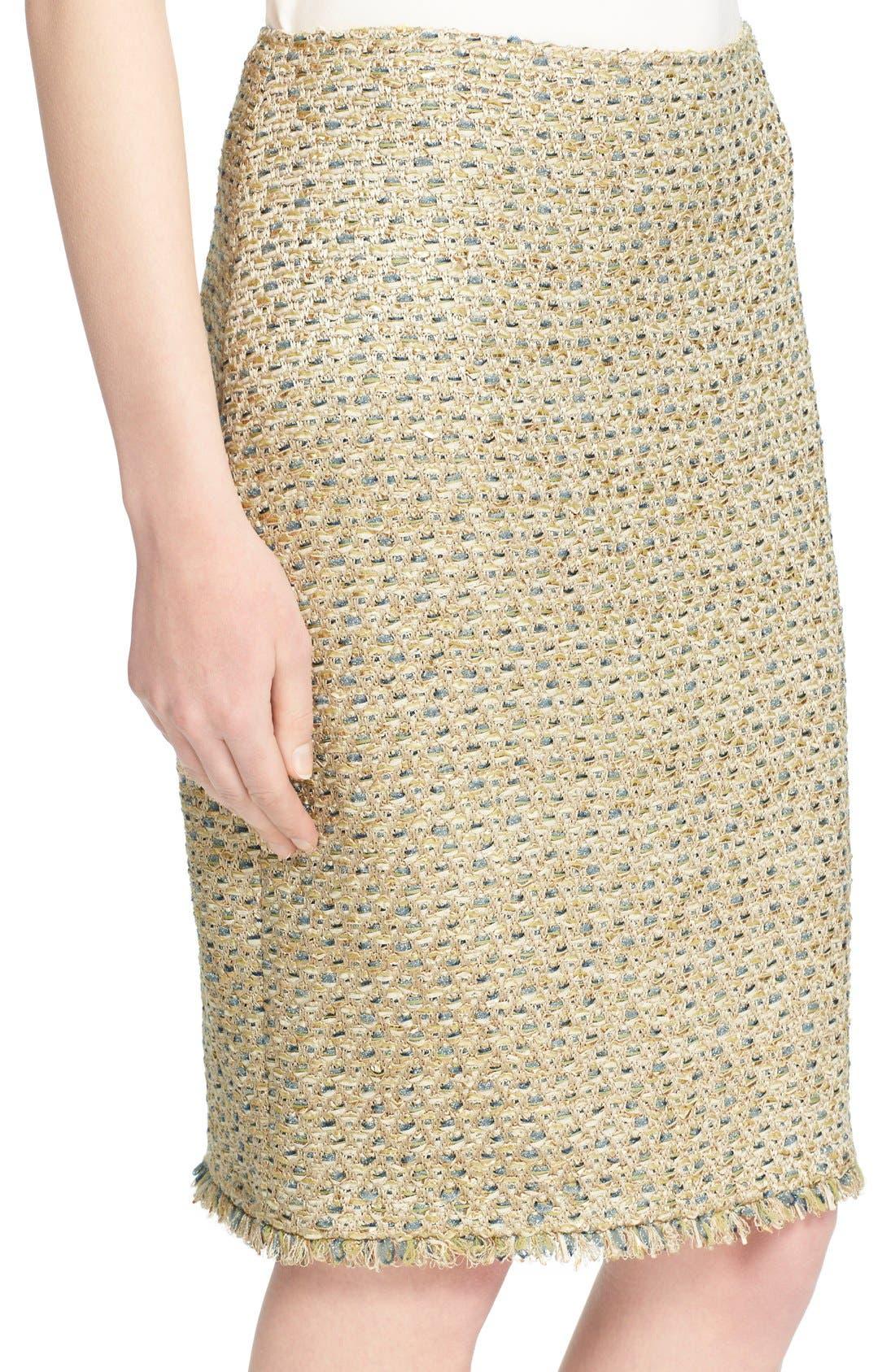 Alternate Image 5  - St. John Collection Fringe Trim Raffia Knit Pencil Skirt