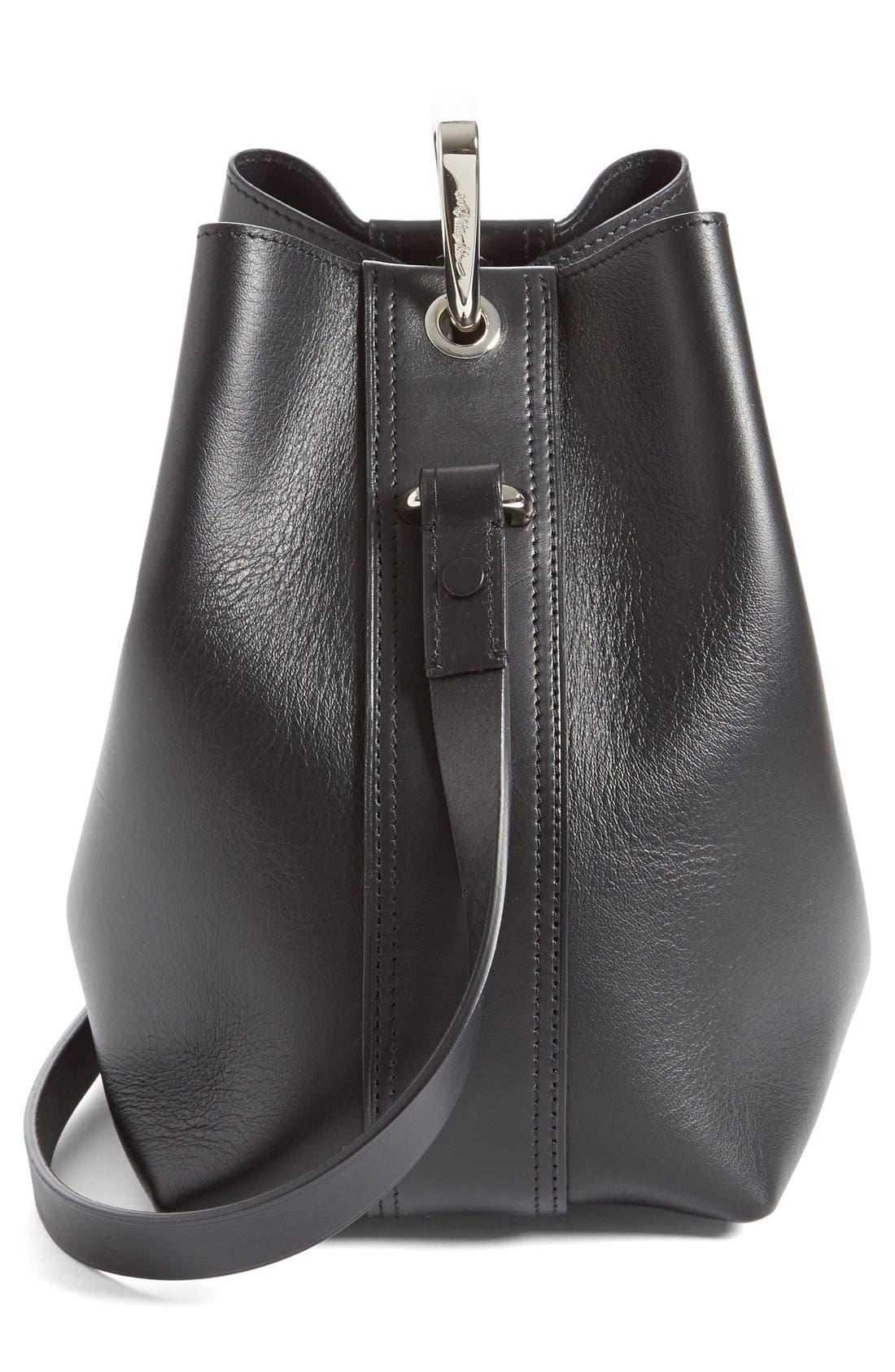 'Mini Quill' Leather Bucket Bag,                             Alternate thumbnail 5, color,                             Black