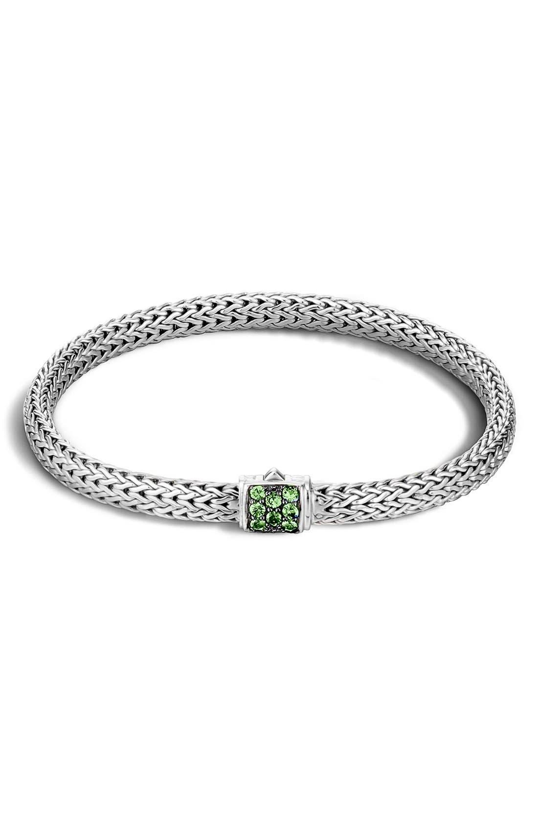 Classic Chain 5mm Bracelet,                         Main,                         color, Silver/ Tsavorite