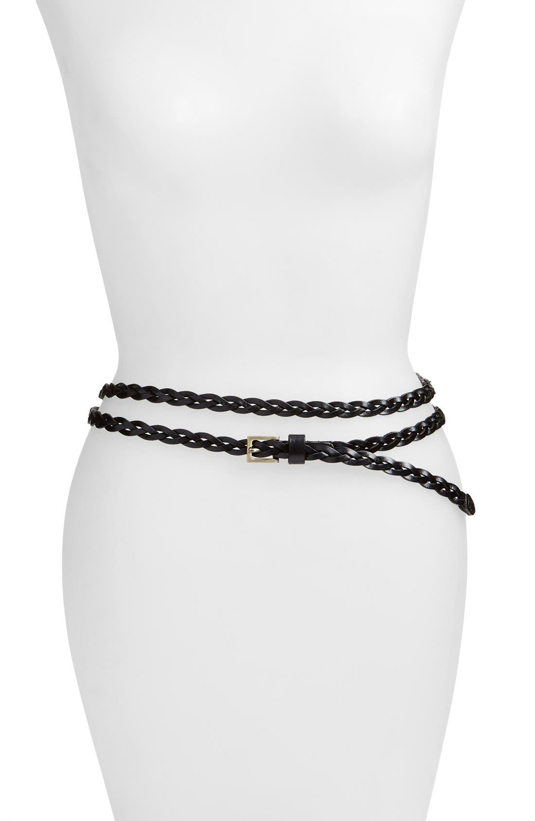 Main Image - Elise M. 'Florence' Calfskin Leather Double Wrap Belt