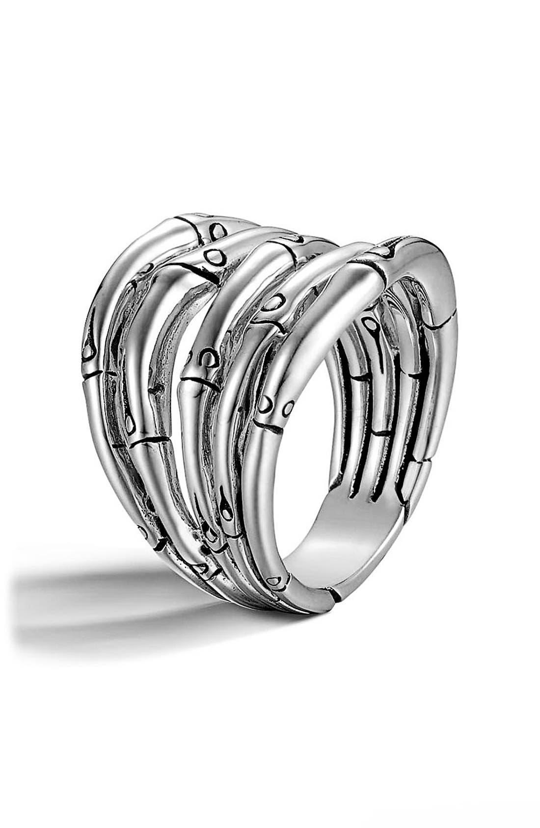 'Bamboo' Wide Stack Ring,                             Main thumbnail 1, color,                             Silver