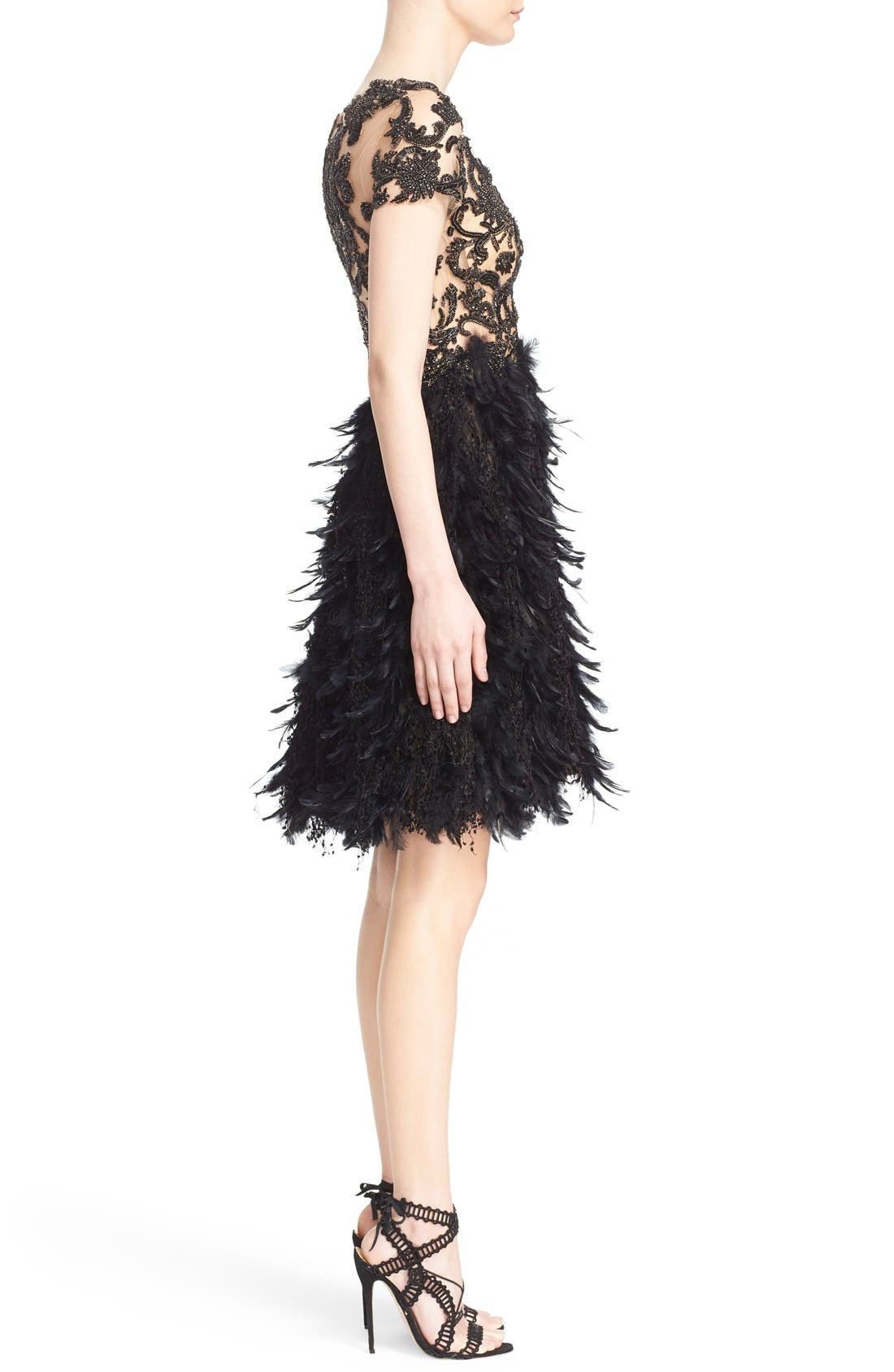Alternate Image 4  - Marchesa Embroidered Illusion & Feather Cocktail Dress (Nordstrom Exclusive)