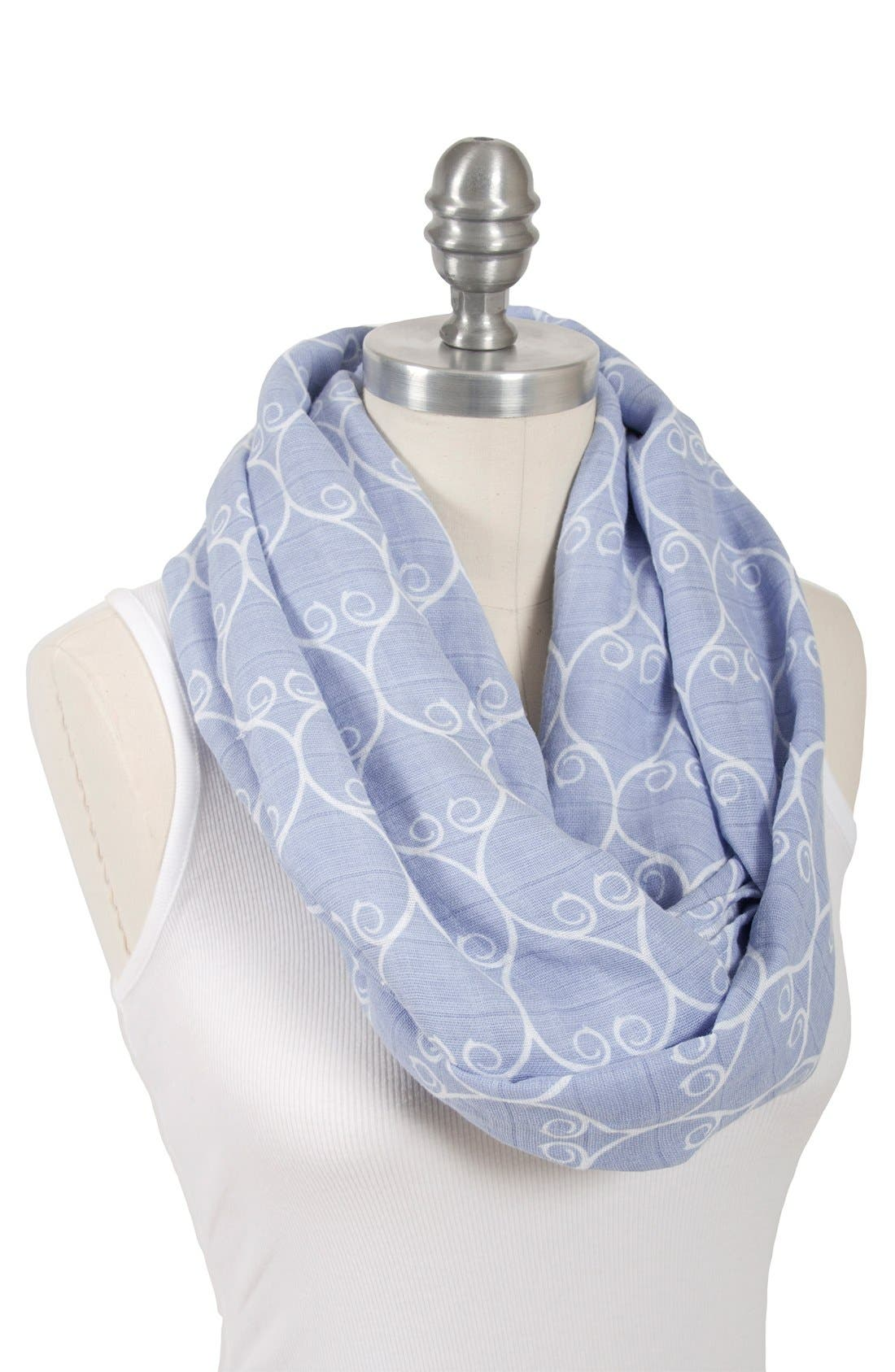Muslin Infinity Nursing Scarf,                             Alternate thumbnail 2, color,                             Blue/ White
