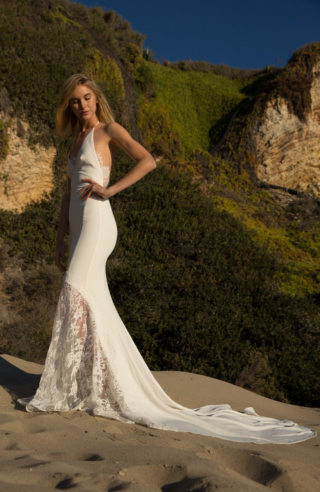 Bree Lace & Crepe Halter Gown,                             Alternate thumbnail 3, color,                             Ivory