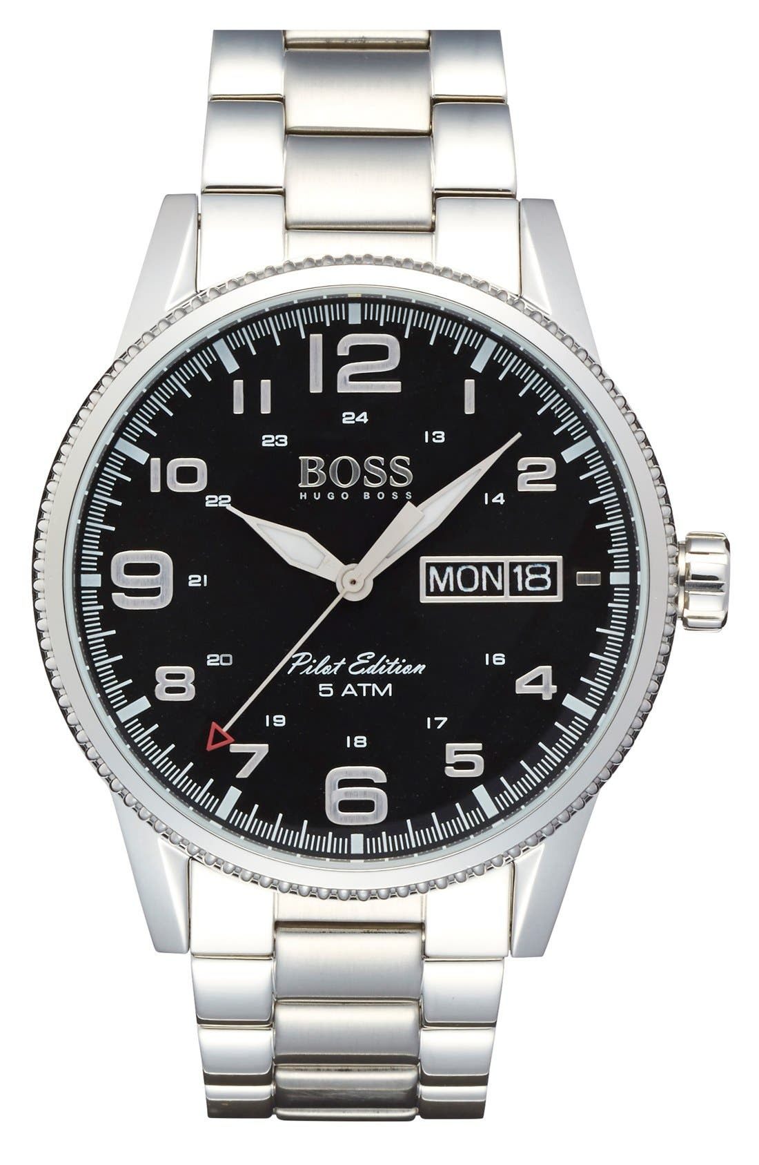 'Pilot' Bracelet Watch, 44mm,                         Main,                         color, Silver/ Black