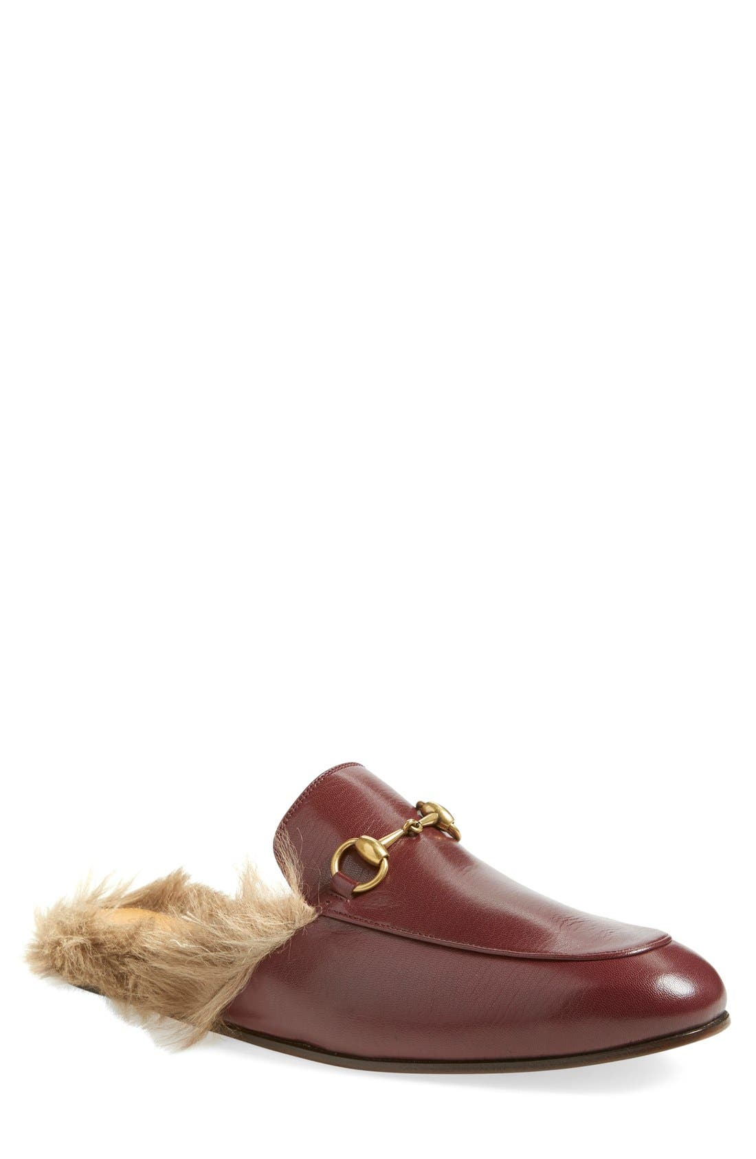 Princetown Genuine Shearling Lined Mule Loafer,                             Main thumbnail 1, color,                             Red/ Tea Leather