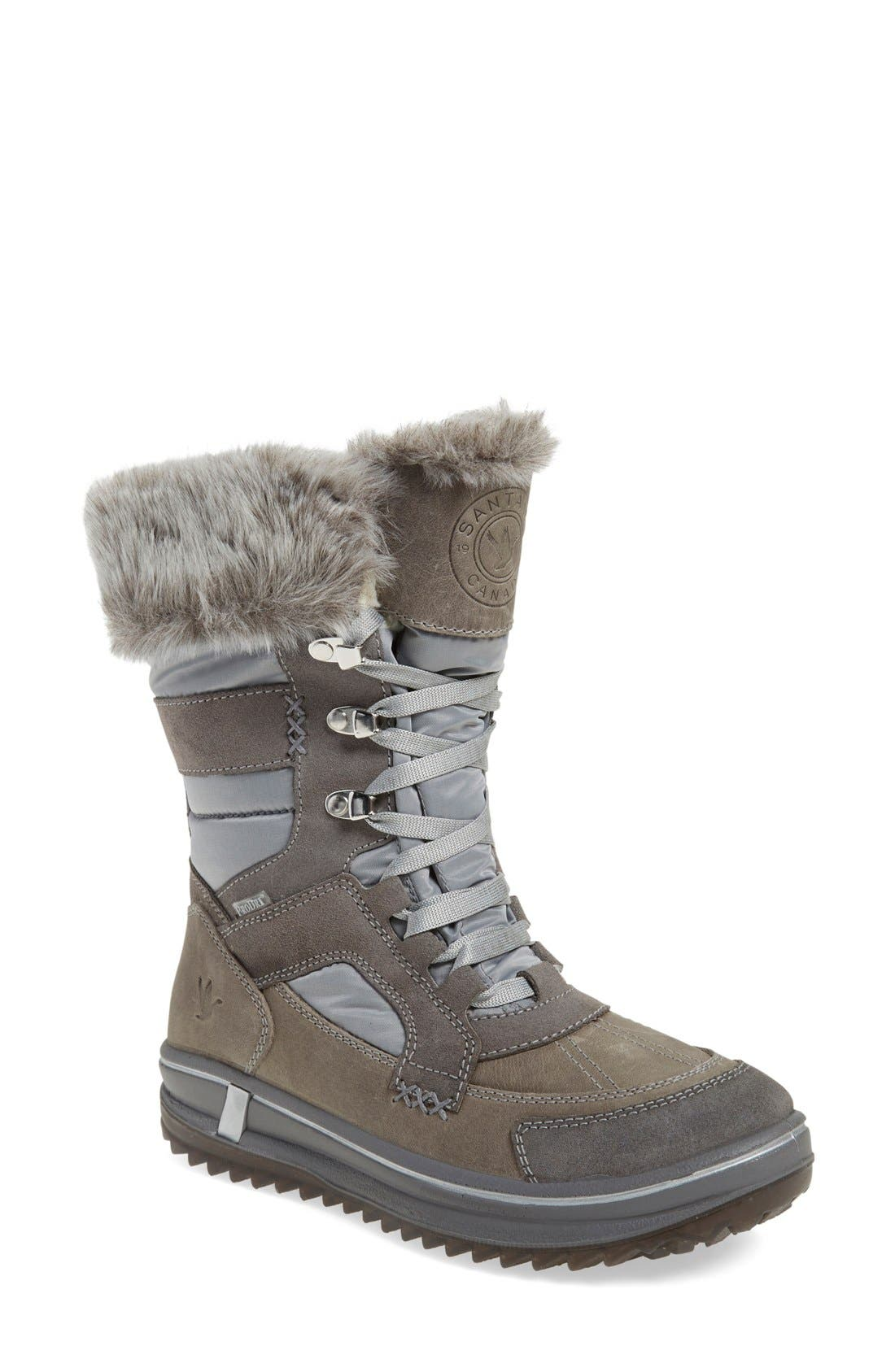 'Marta' Water Resistant Insulated Winter Boot,                             Main thumbnail 1, color,                             Grey Fabric