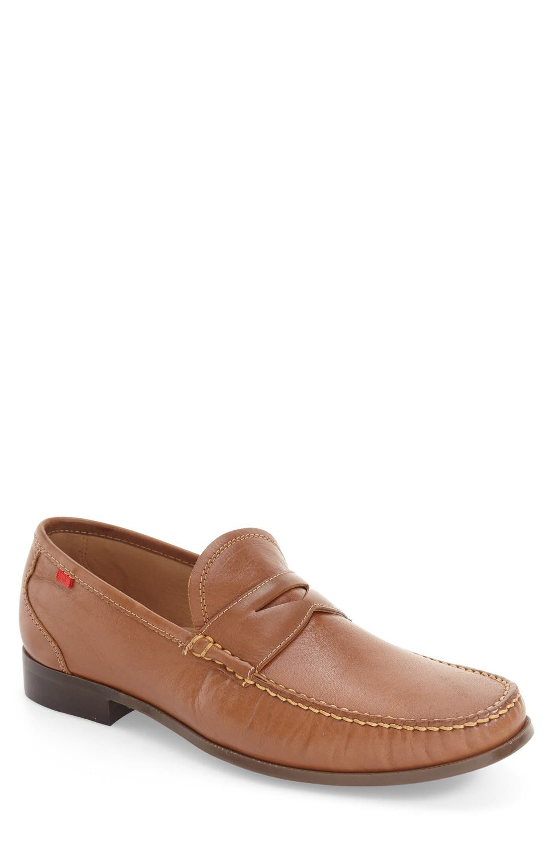 Penny Loafer,                         Main,                         color, Brown Leather