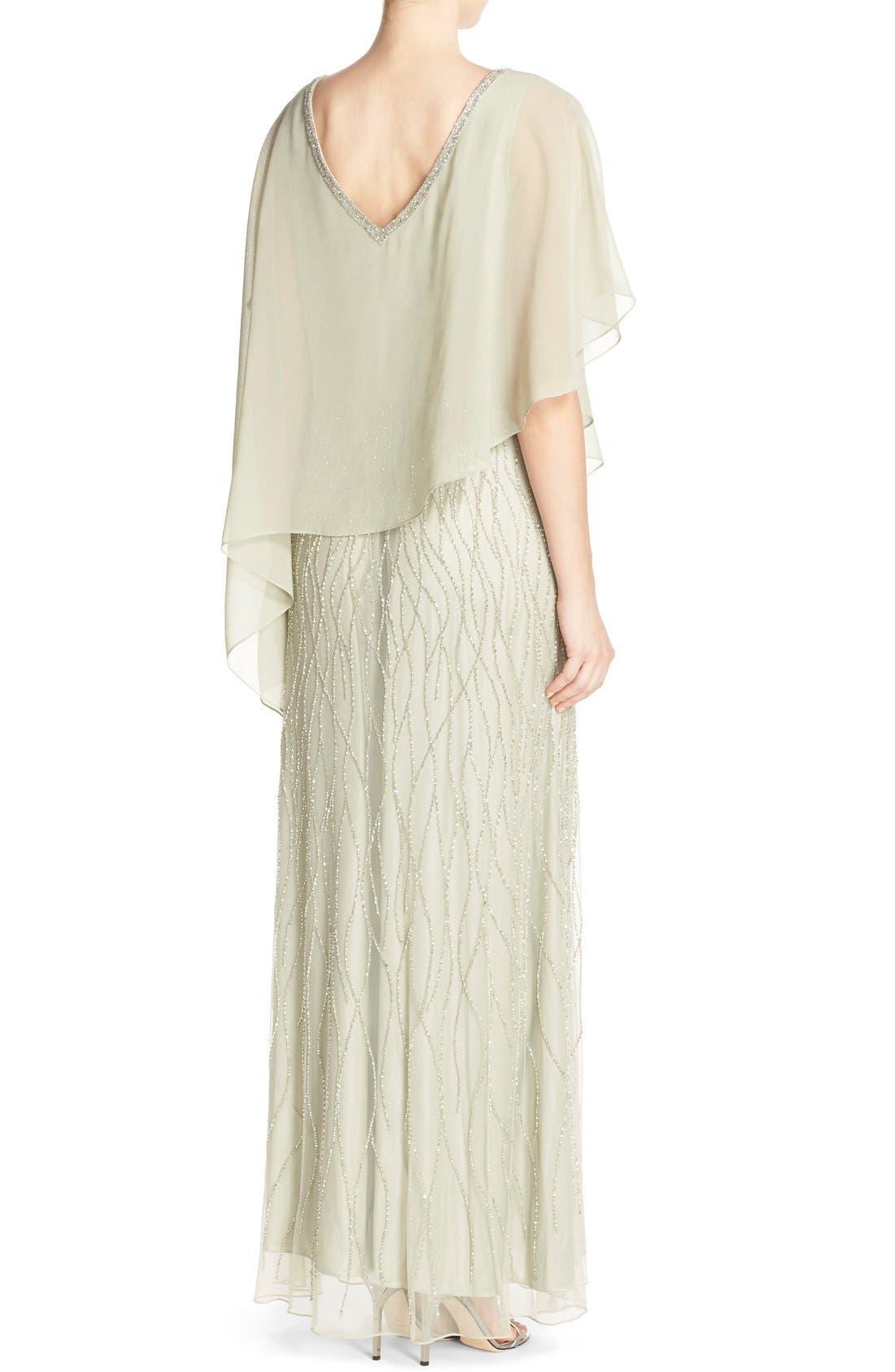 Alternate Image 2  - J Kara Chiffon Overlay Beaded Gown
