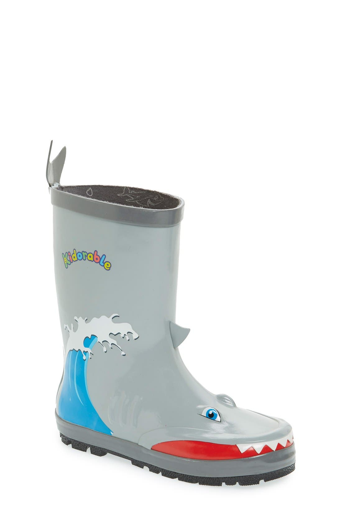 'Shark' Waterproof Rain Boot,                         Main,                         color, Grey