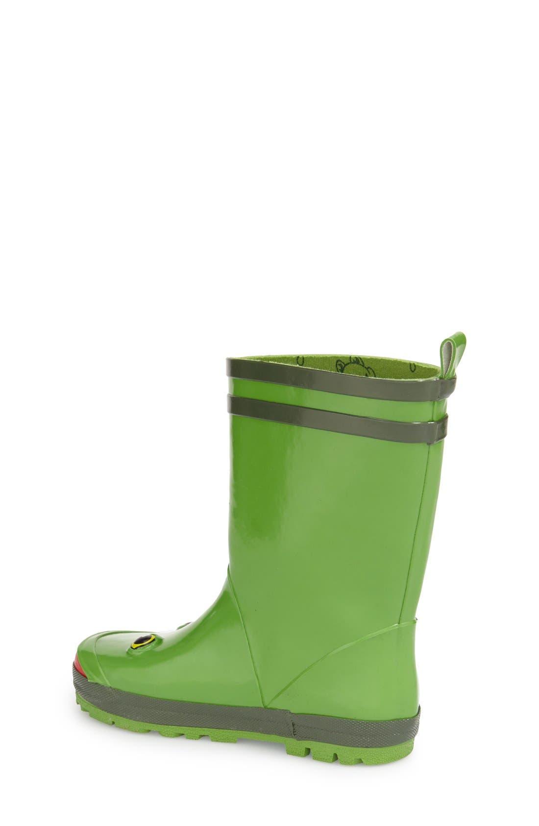 'Frog' Waterproof Rain Boot,                             Alternate thumbnail 2, color,                             Green