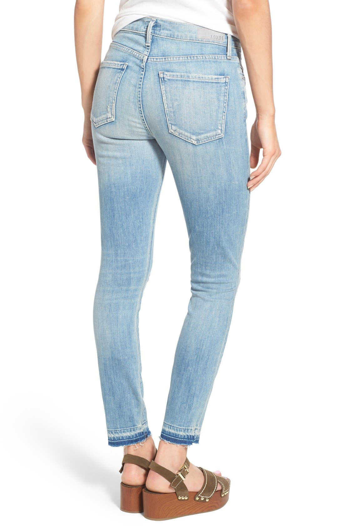 Alternate Image 2  - A Gold E 'Sophie' Crop Skinny Jeans (Blue Lagoon)