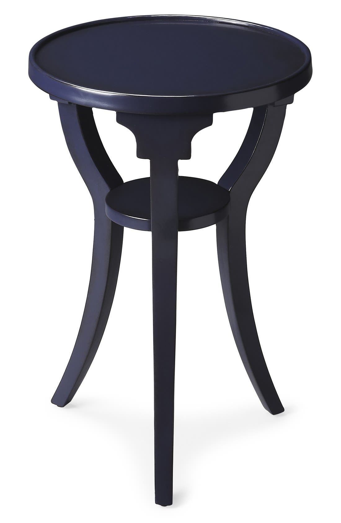 Round Wood Accent Table,                         Main,                         color, Blue