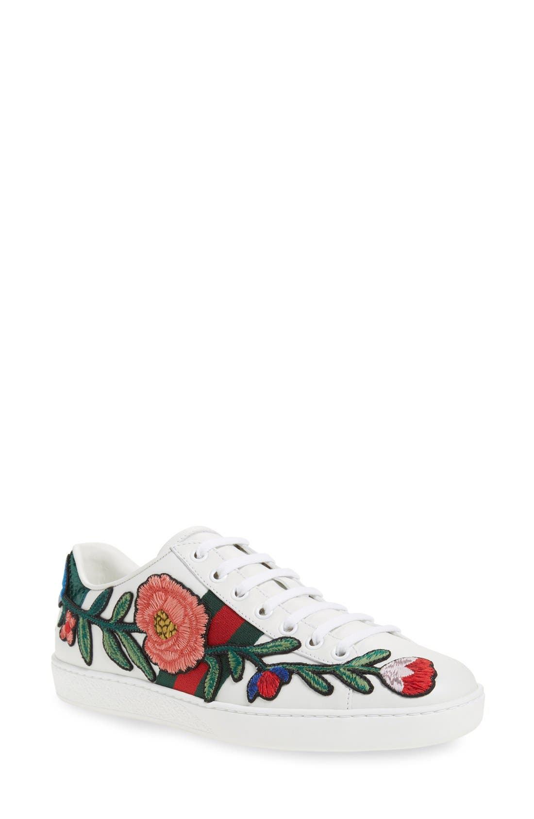 'New Ace' Low Top Sneaker,                             Main thumbnail 1, color,                             White Floral