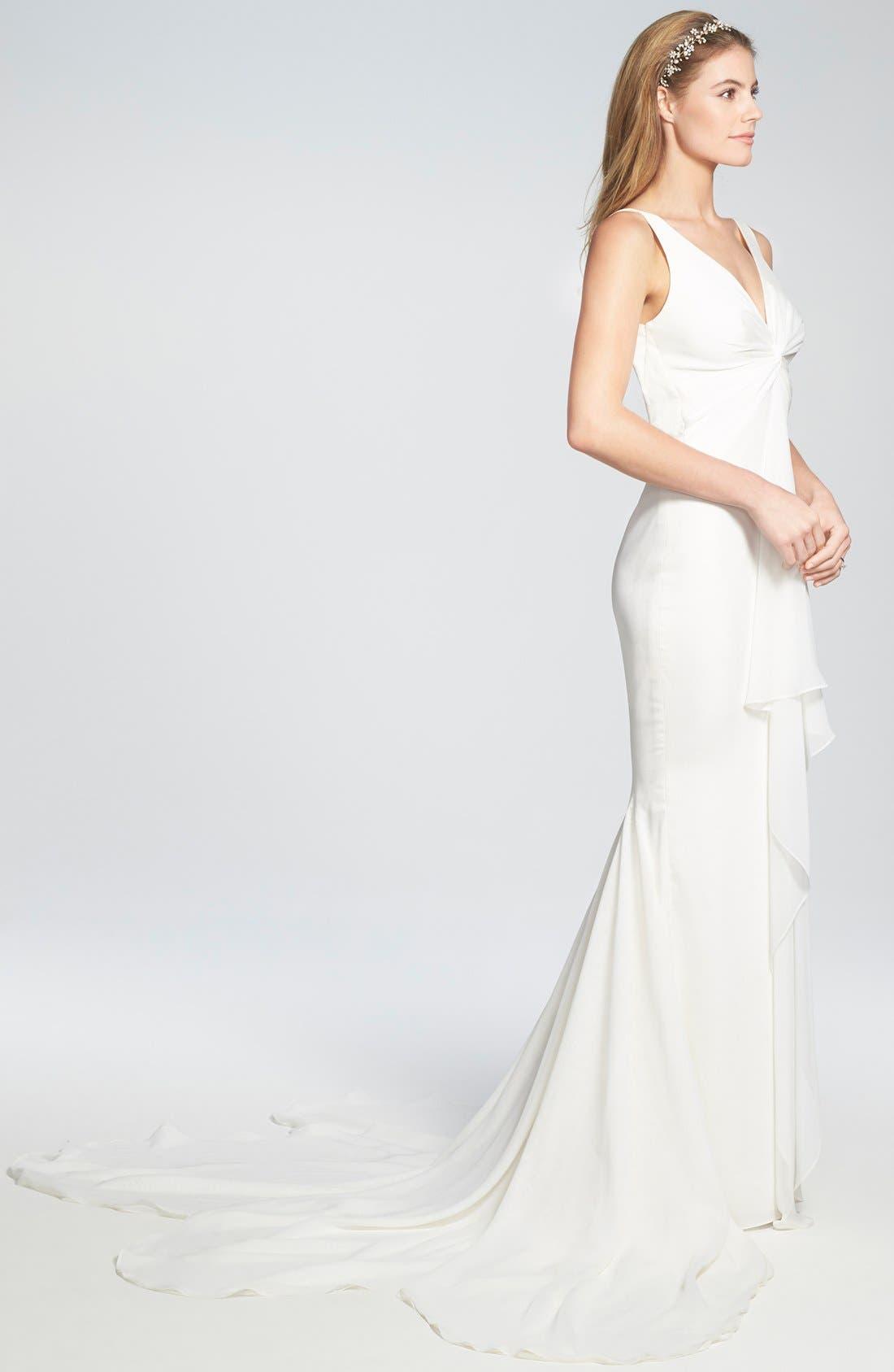 Alternate Image 3  - Katie May 'Mykonos' Twist Front Crêpe de Chine Mermaid Gown