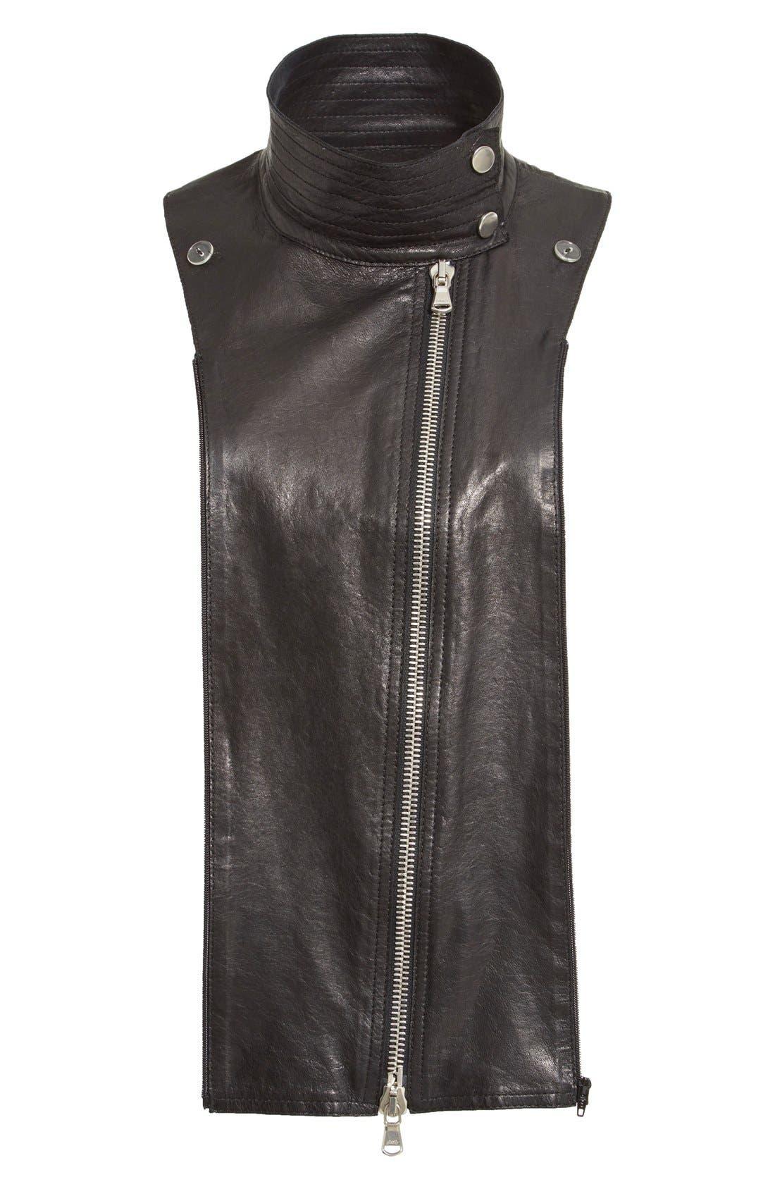 Lambskin Leather Moto Dickey,                             Main thumbnail 1, color,                             Black
