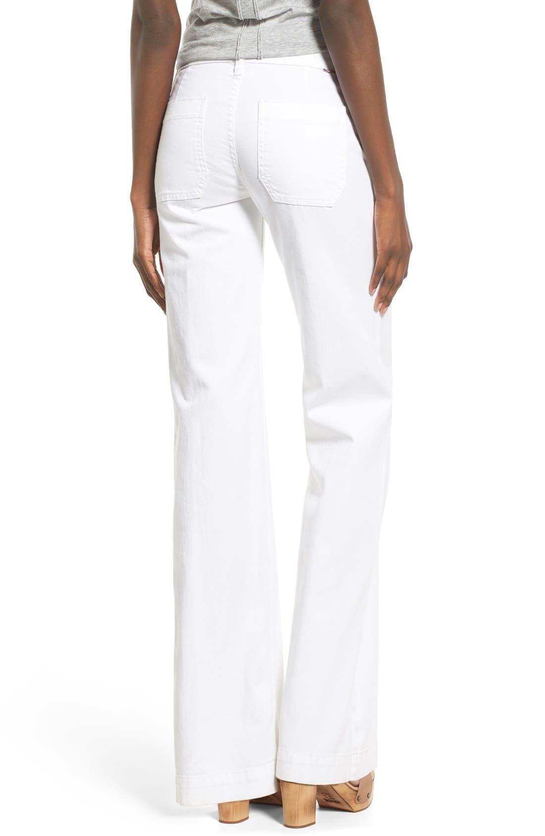 Alternate Image 2  - Hudson Jeans 'Libby' Wide Leg Sailor Jeans (White 2)