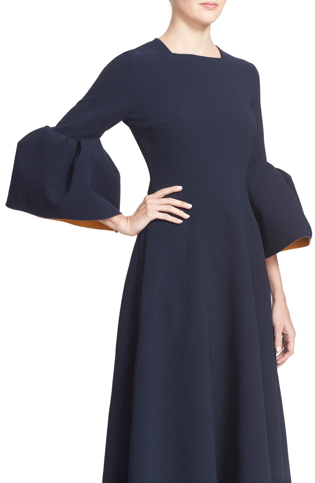 Turlin Flounce Sleeve Midi Dress,                             Alternate thumbnail 7, color,                             Navy/ Ochre