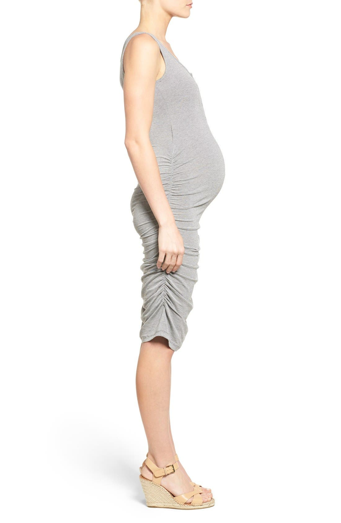 Sleeveless Maternity/Nursing Dress,                             Alternate thumbnail 4, color,                             Charcoal Microstripe