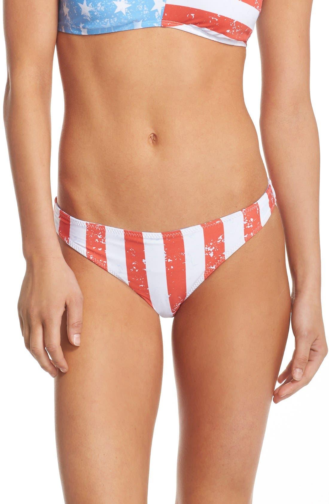 'American Flag - Red, White & You' Reversible Bikini Bottoms,                             Main thumbnail 1, color,                             Blue Multi