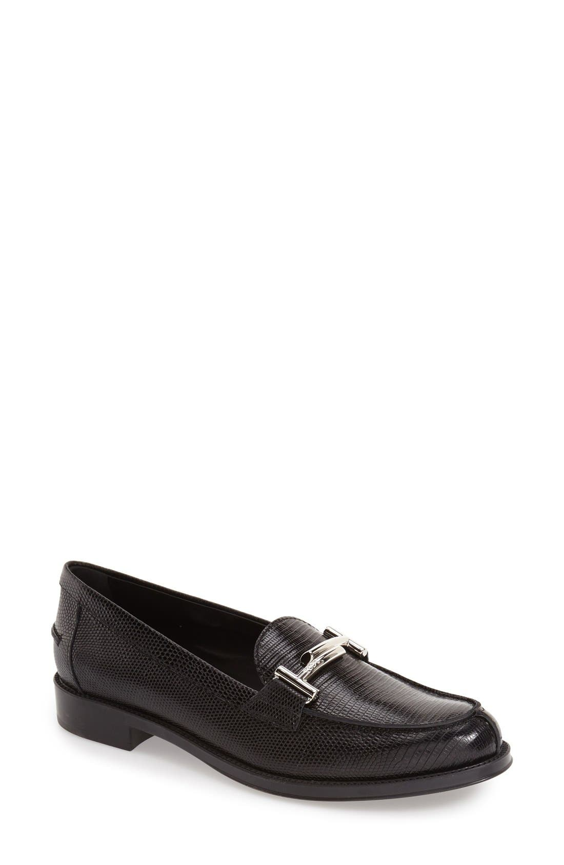 'Double T' Loafer,                             Main thumbnail 1, color,                             Black