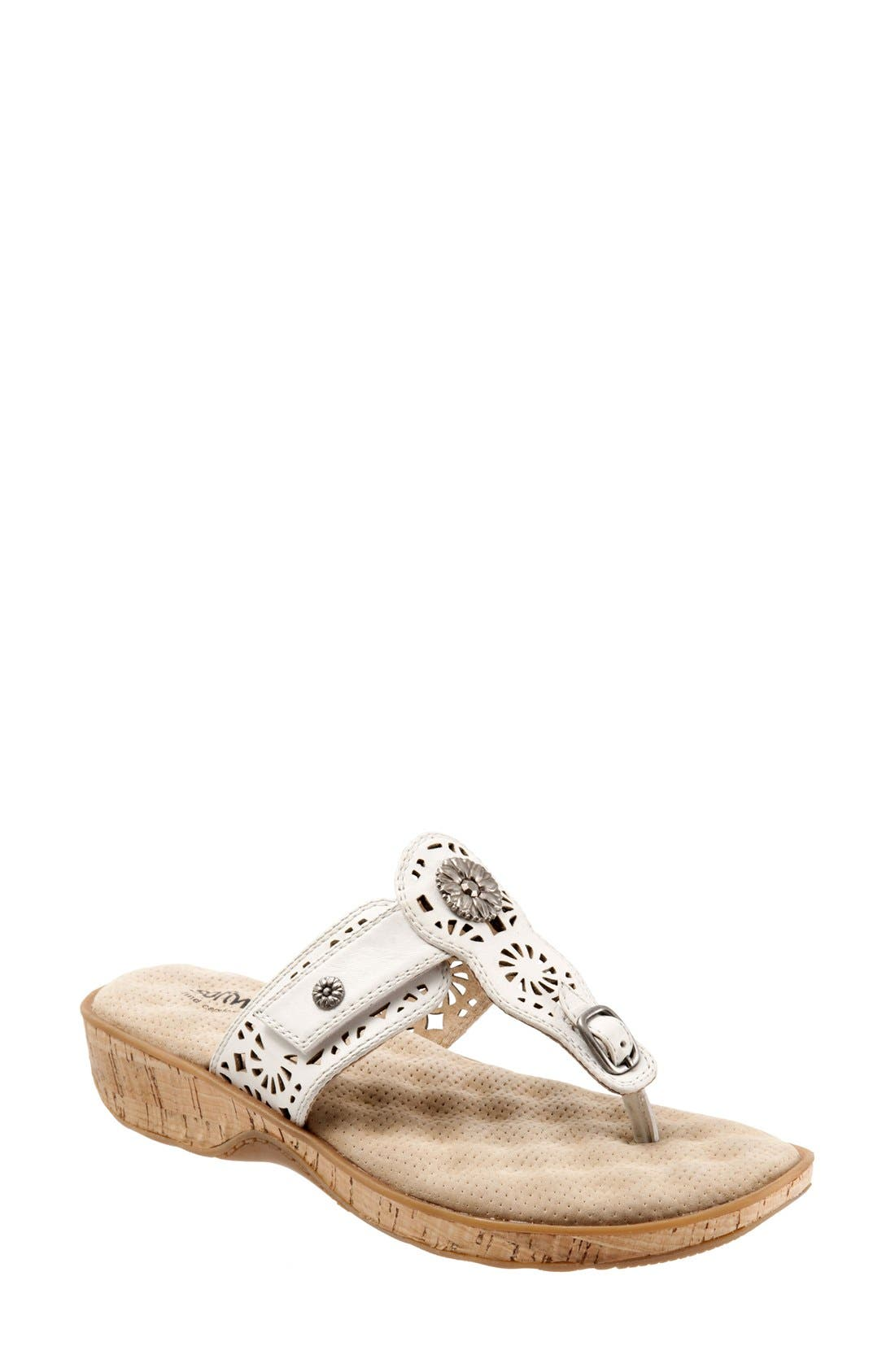 'Beaumont' Sandal,                             Main thumbnail 1, color,                             Off White Leather