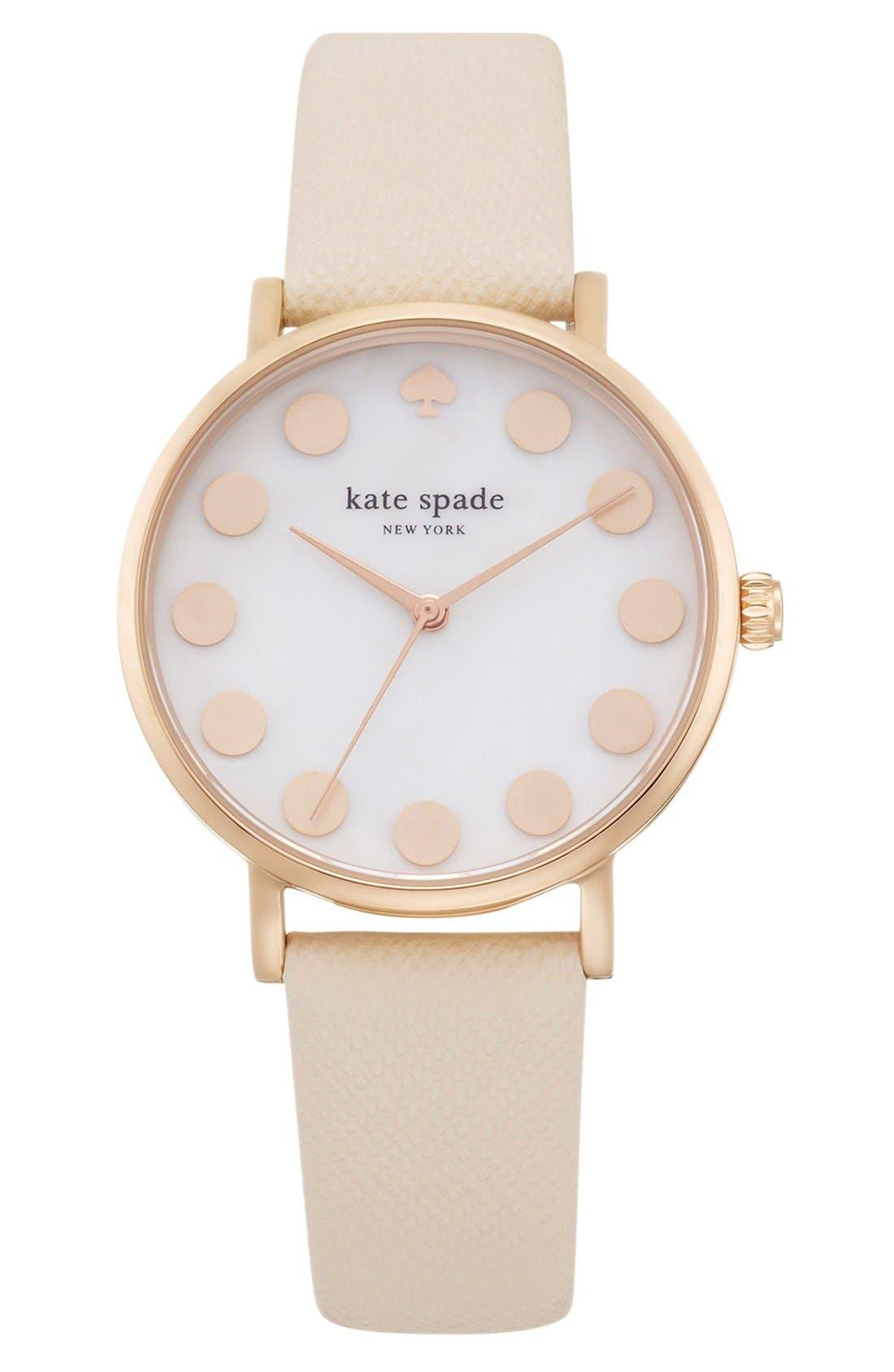 kate spade 'metro dot' leather strap watch, 34mm,                             Main thumbnail 1, color,                             Vachetta