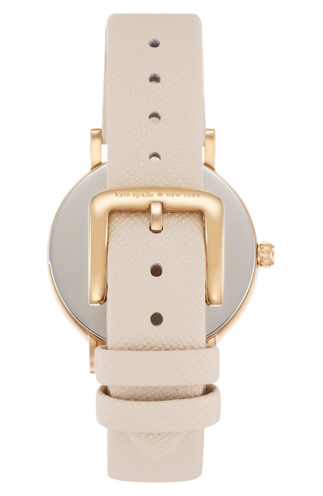 kate spade 'metro dot' leather strap watch, 34mm,                             Alternate thumbnail 2, color,                             Vachetta