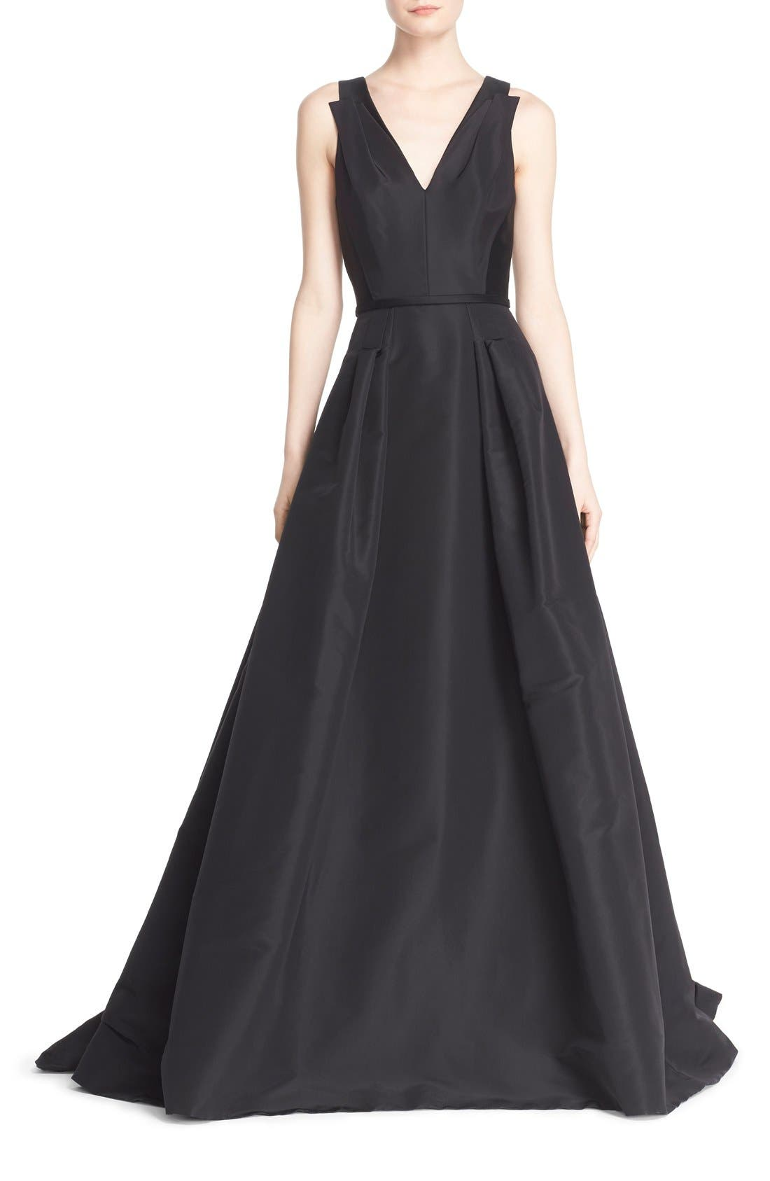 Alternate Image 1 Selected - Carolina Herrera V-Neck Silk Ballgown