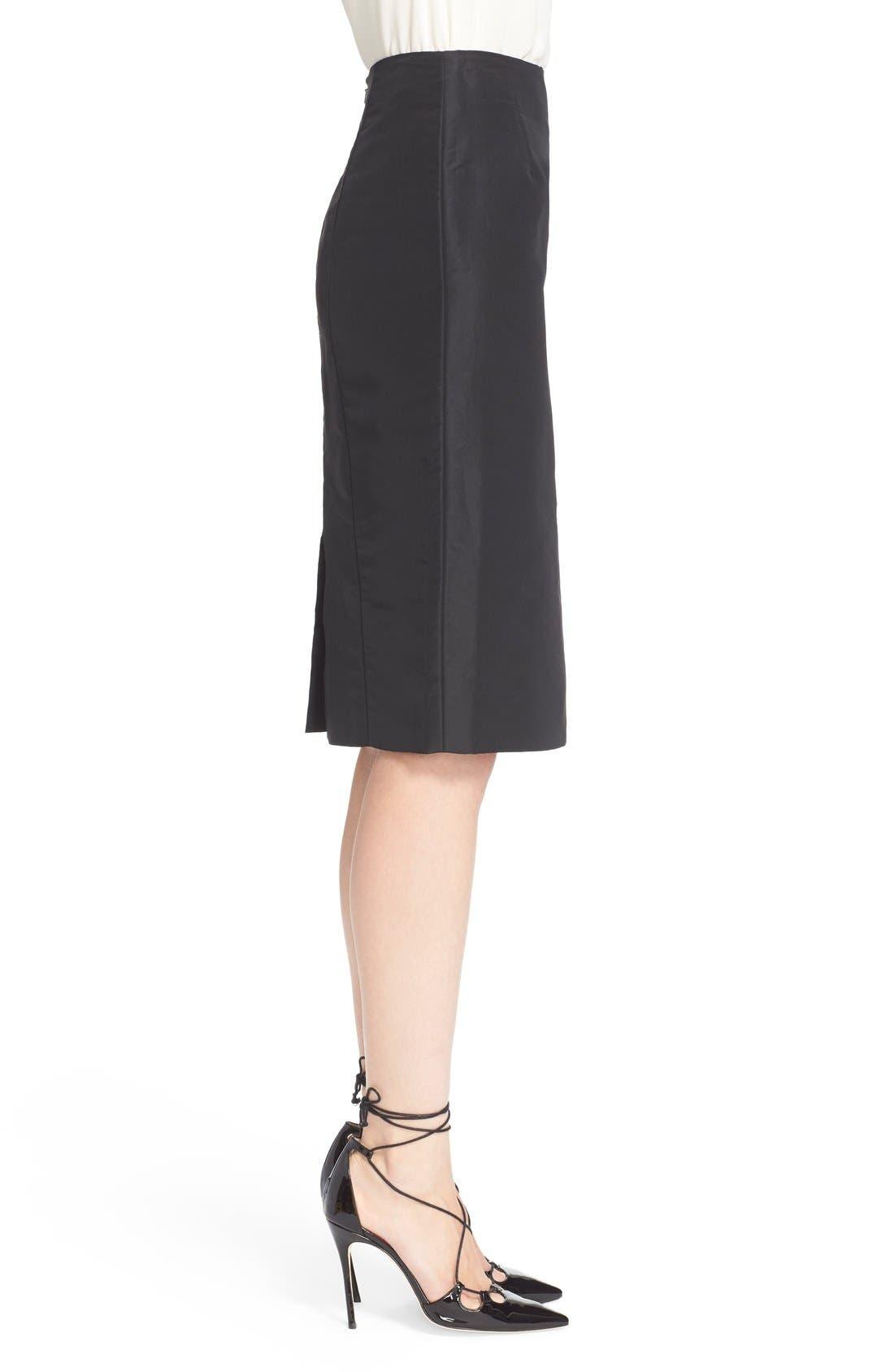 Silk Pencil Skirt,                             Alternate thumbnail 4, color,                             Black
