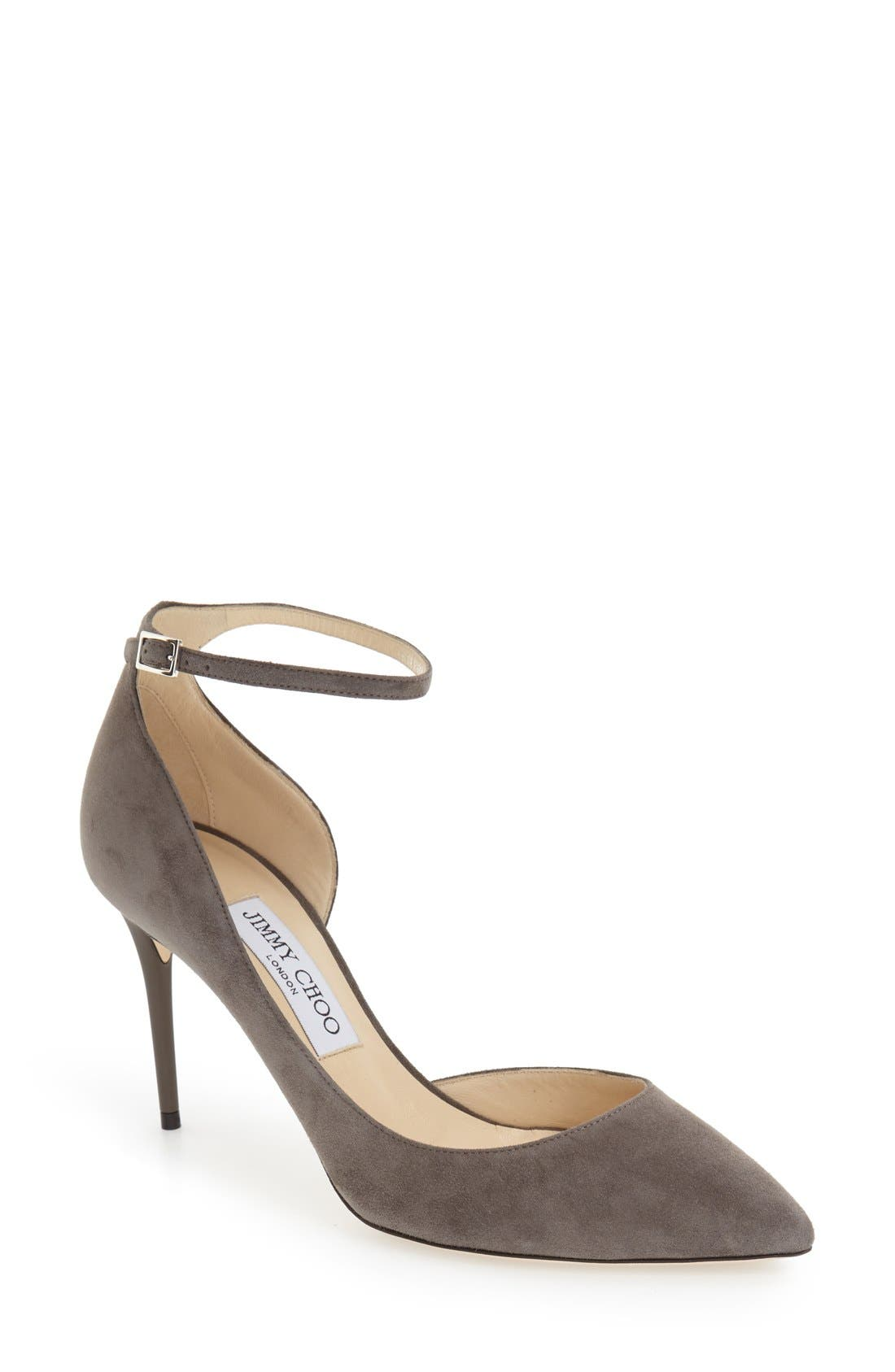 'Lucy' Half d'Orsay Pointy Toe Pump,                             Main thumbnail 1, color,                             Taupe Grey Suede